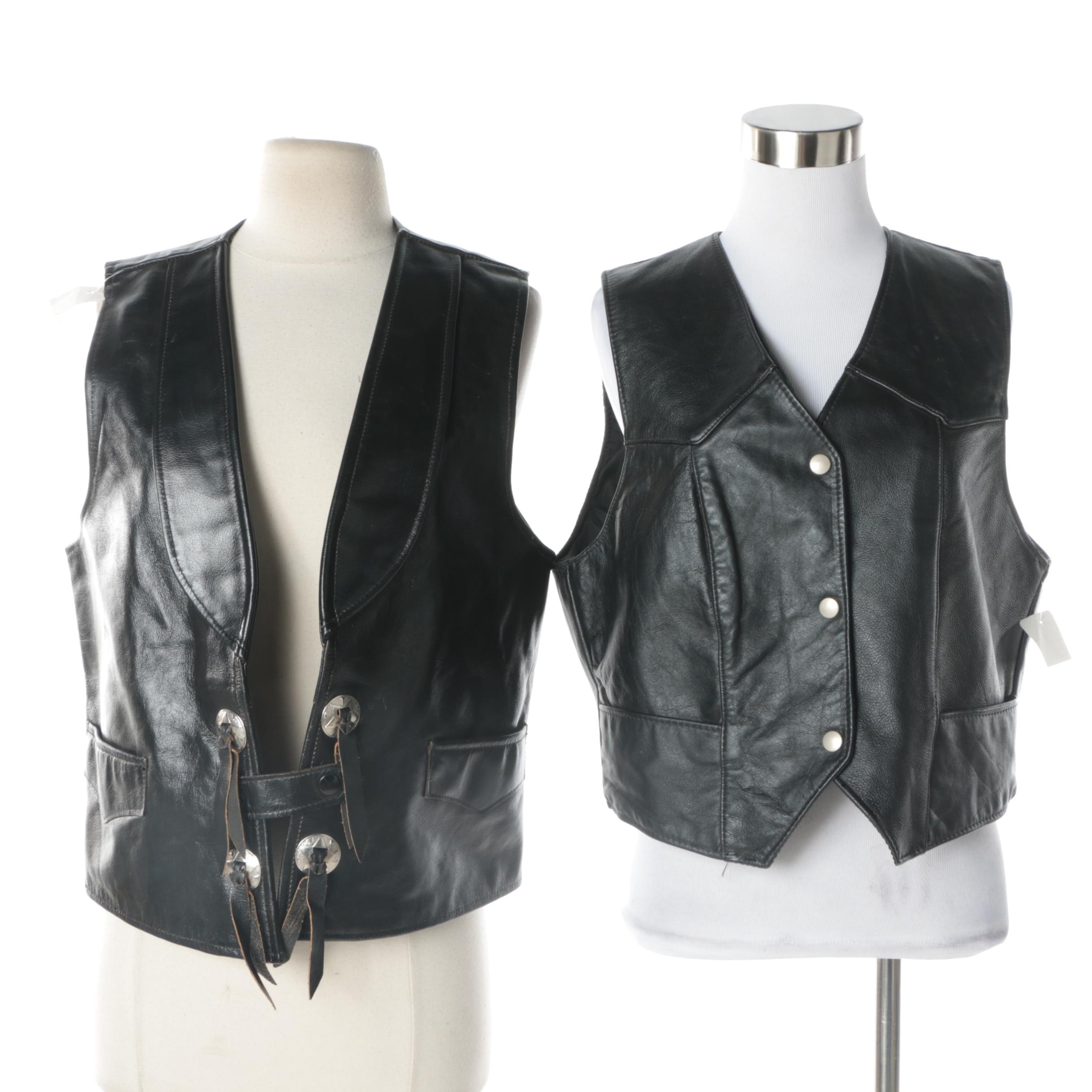 Women's Black Leather Vests Including Walker's and Steer Brand
