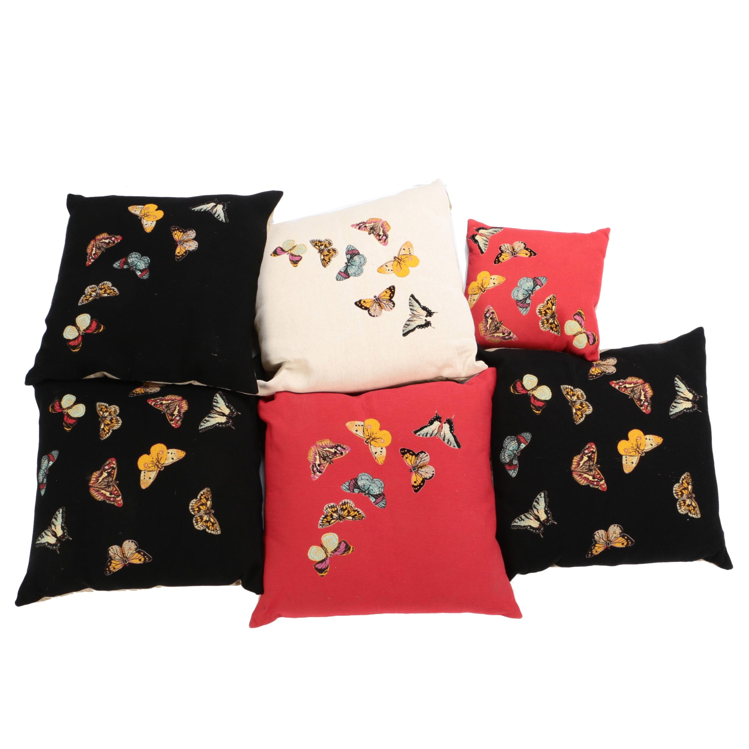 Butterfly Motif Jacquard Woven Throw Pillows with Feather Inserts