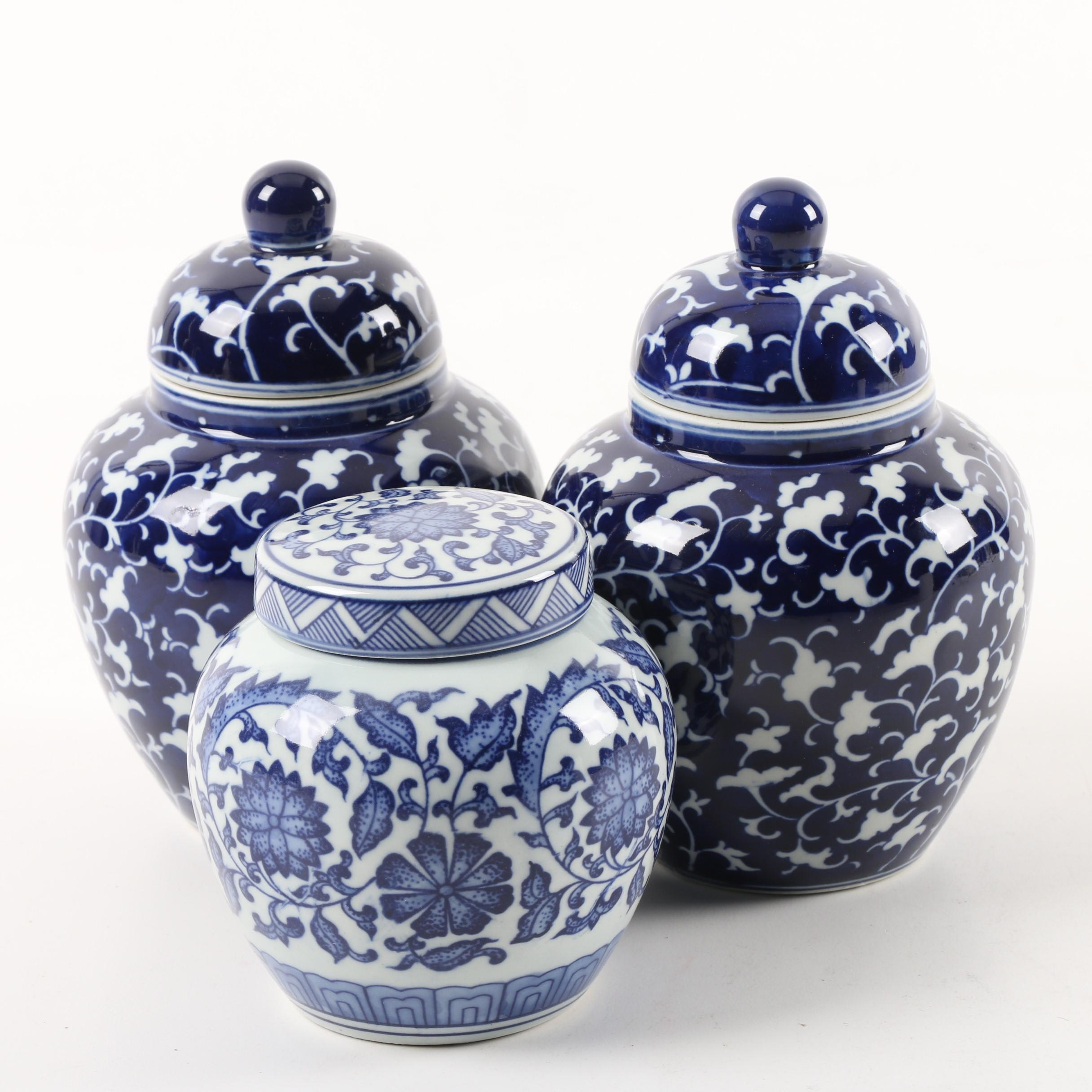 Williams-Sonoma Home Contemporary Blue and White Ginger Jars