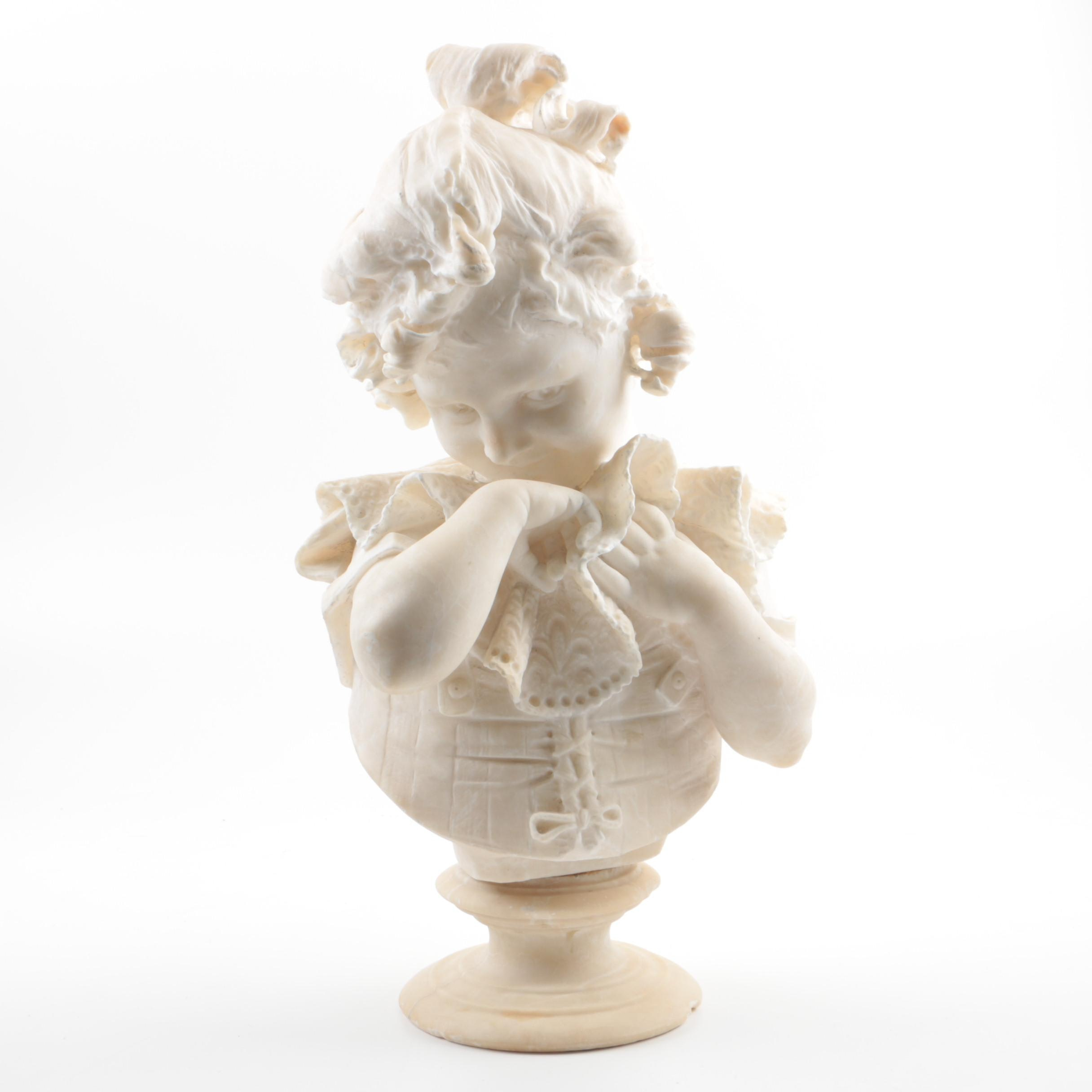 Attributed to Pietro Bazzanti Alabaster Portrait Bust of a Young Girl