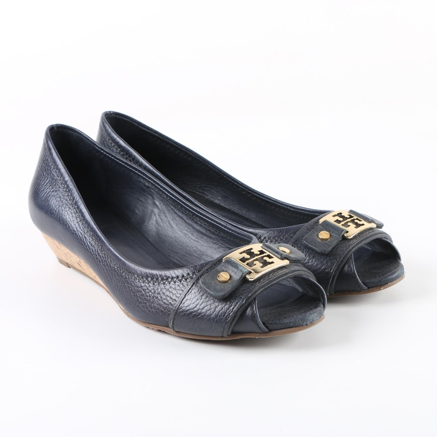 903d5e5b76c Tory Burch Emma Navy Leather Peep-Toe Wedges   EBTH