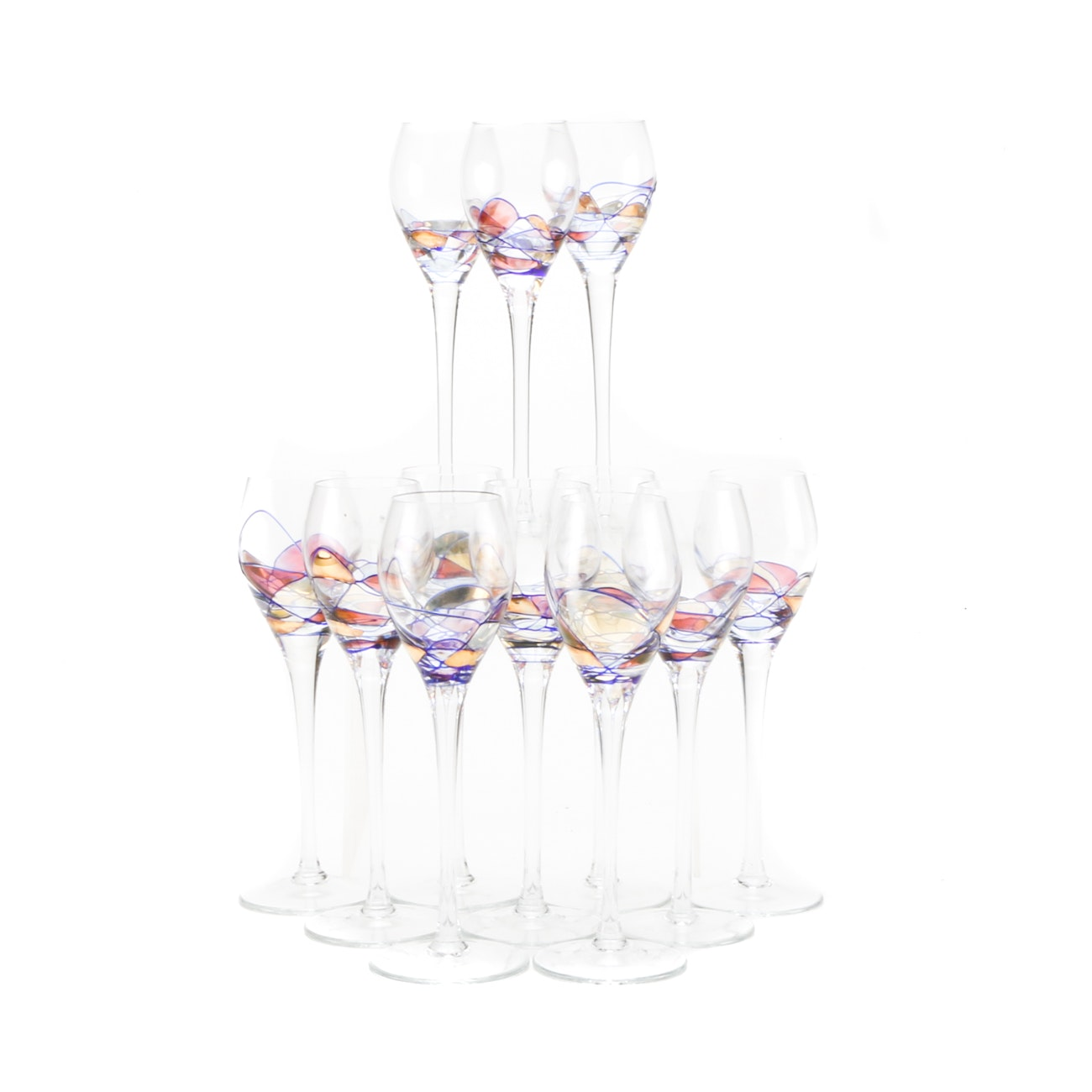 Set of Hand-Painted Cordial Glasses
