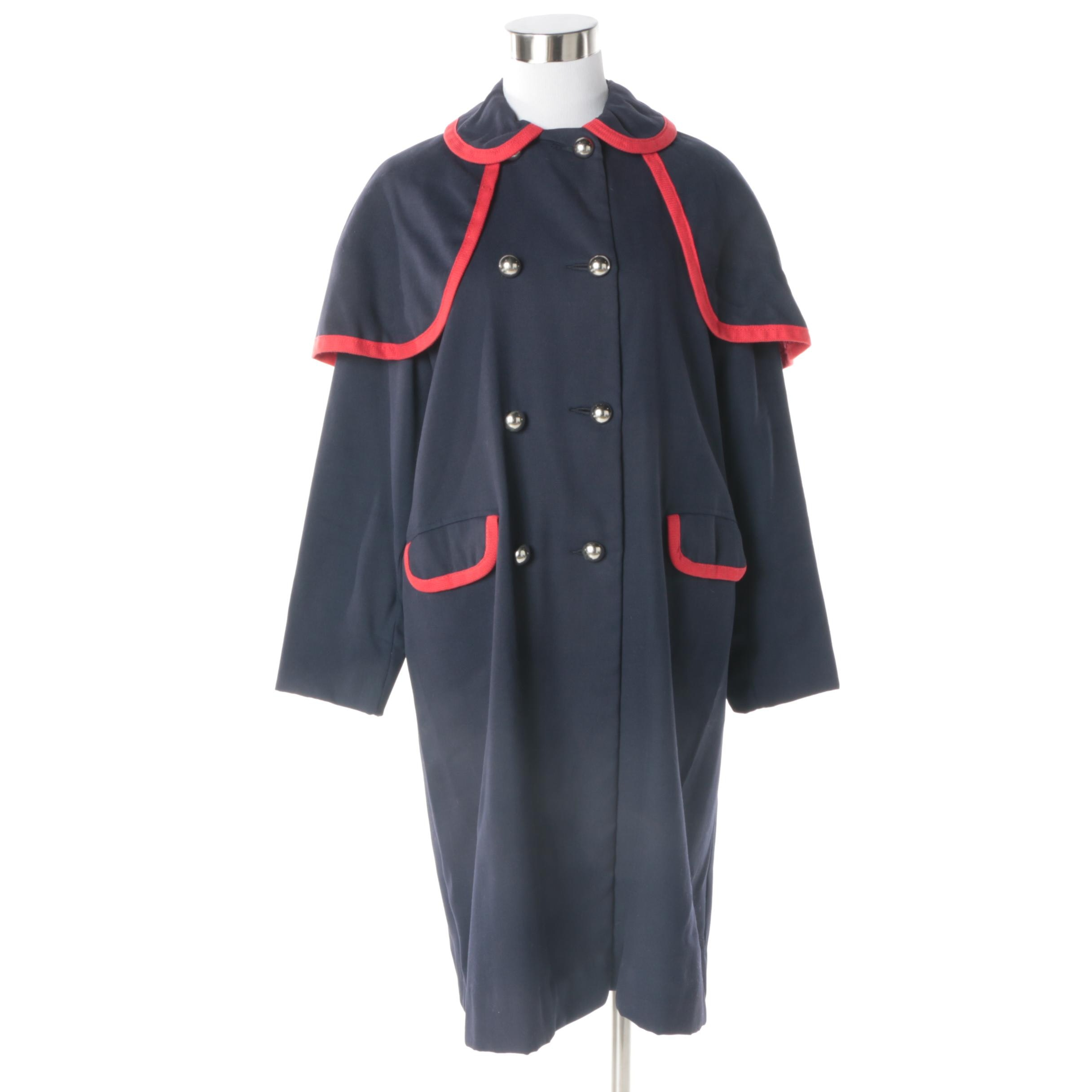 Women's Vintage Navy Wool Double-Breasted Cape Coat Trimmed in Red