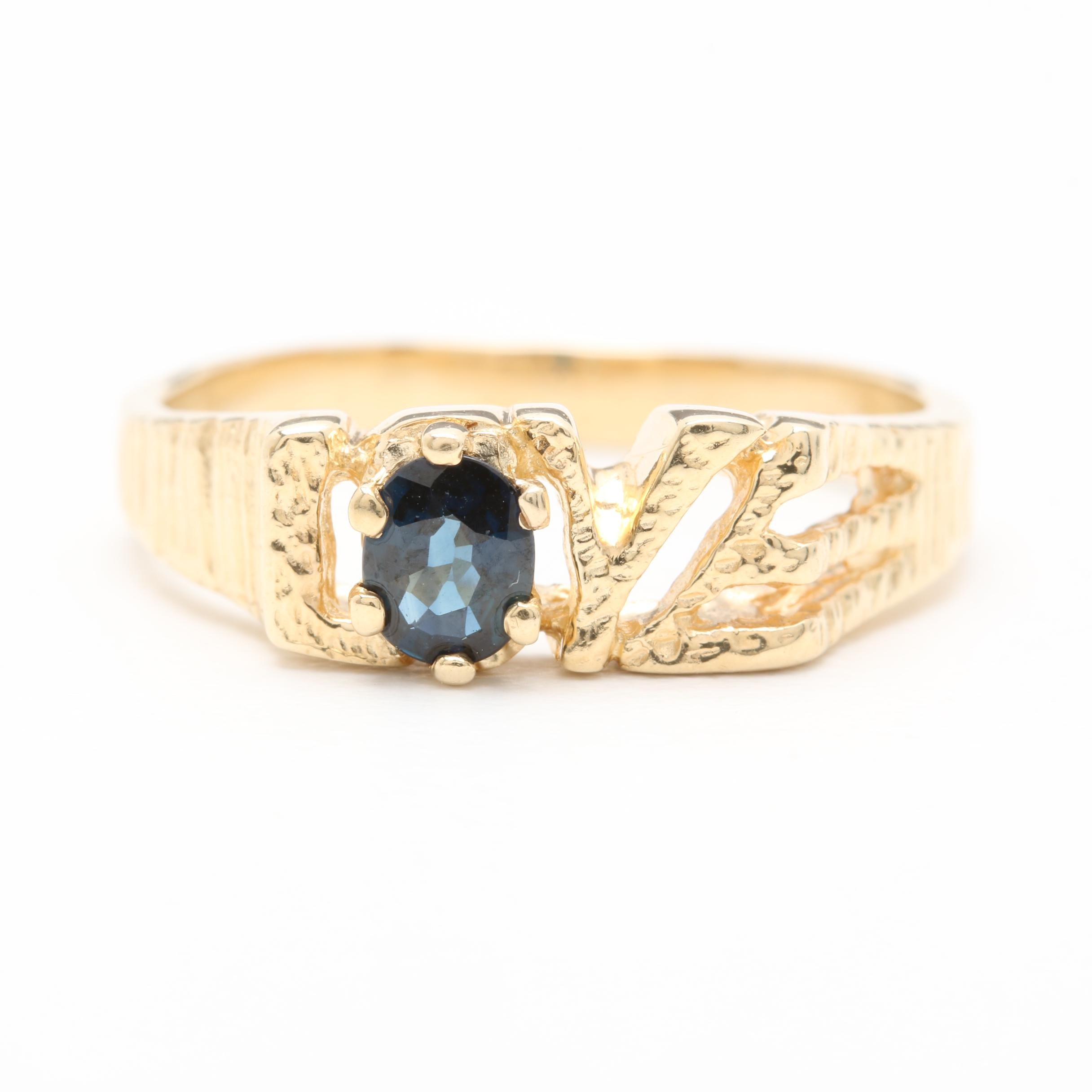 14K Yellow Gold Blue Sapphire Love Ring