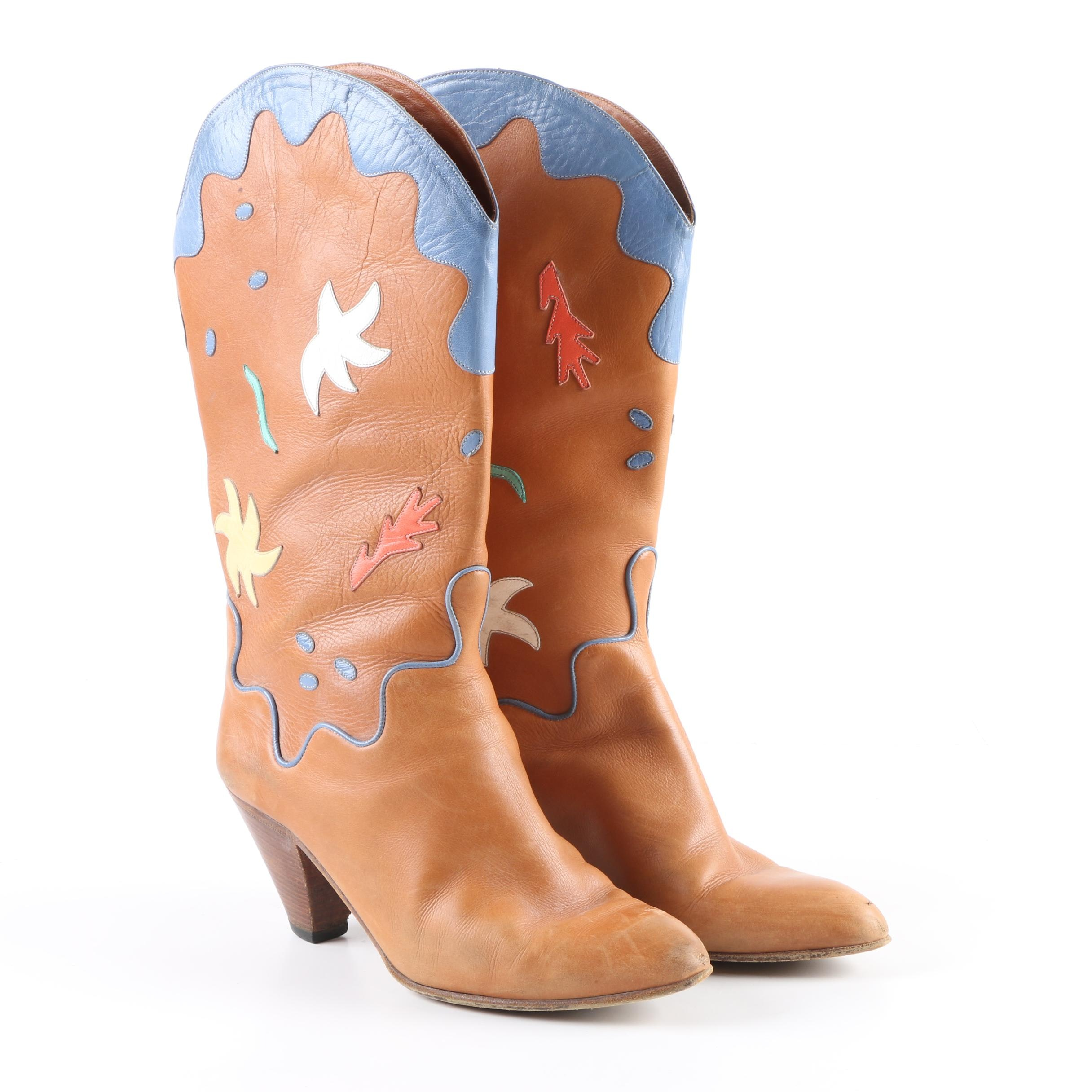 Women's Neiman Marcus Brown Leather Western Boots