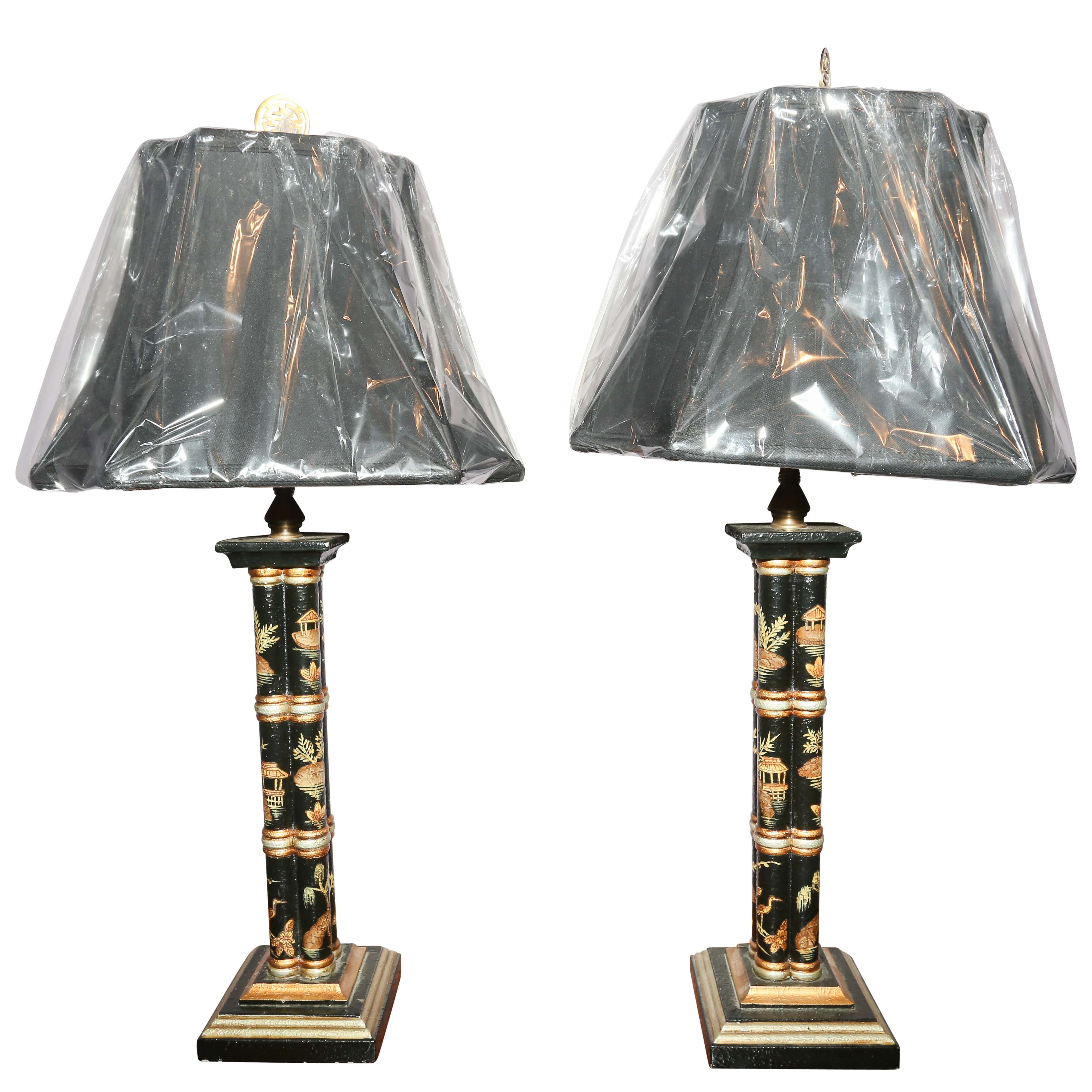 Pair of Chinese Hand Painted Lamps