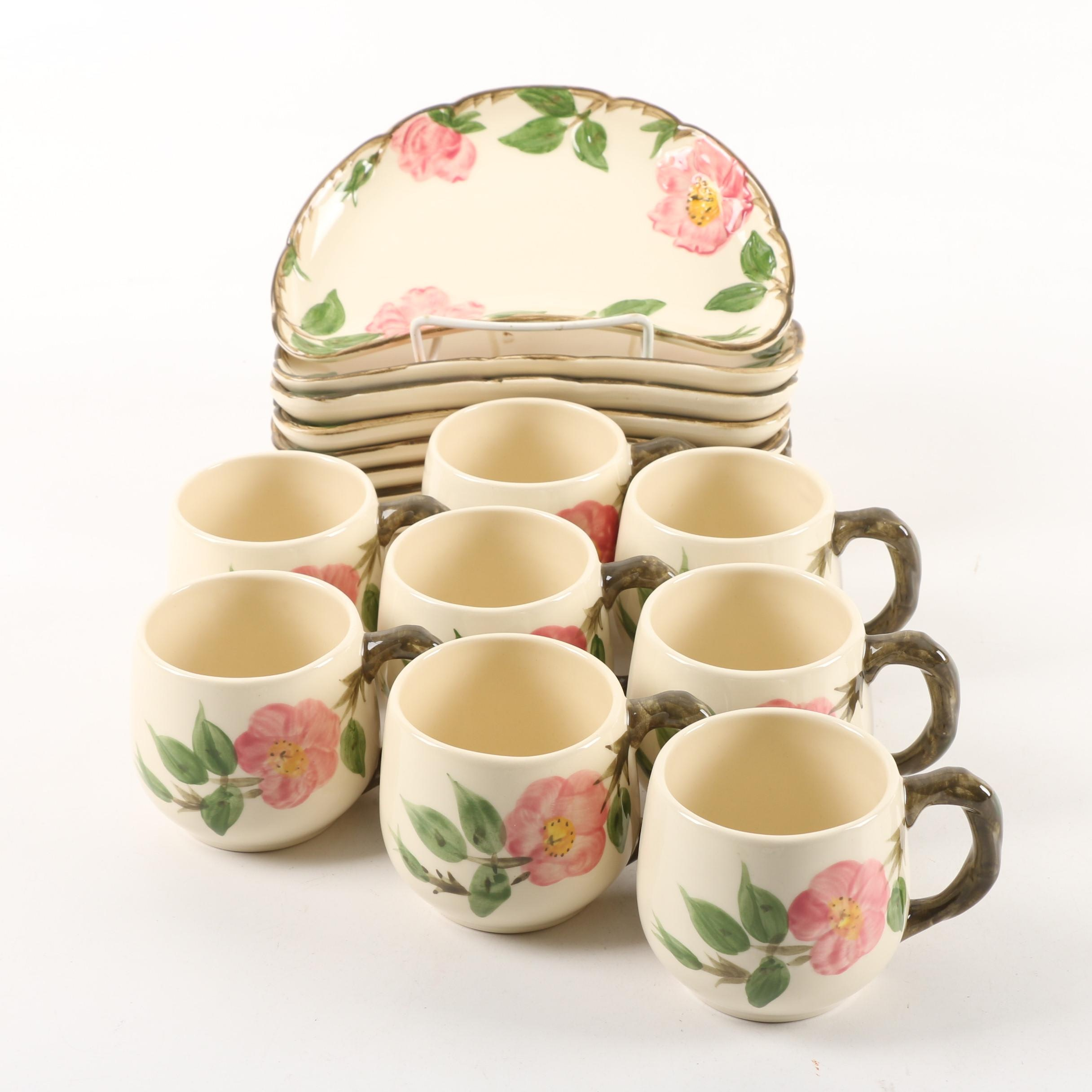 "1953-58 Franciscan ""Desert Rose"" Ceramic Mugs and Crescent Salad Plates"