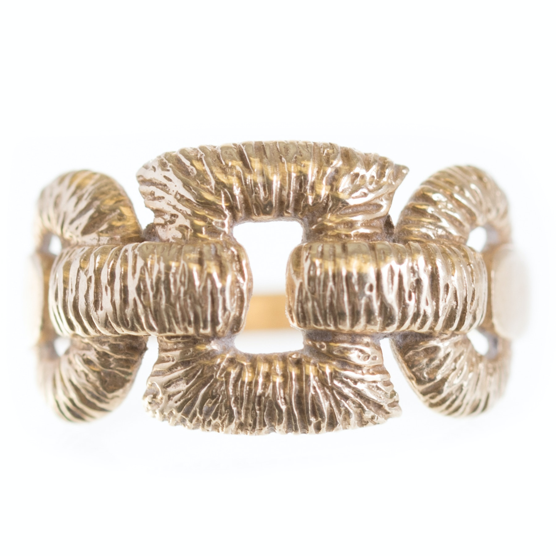 14K Yellow Gold Textured Buckle Ring