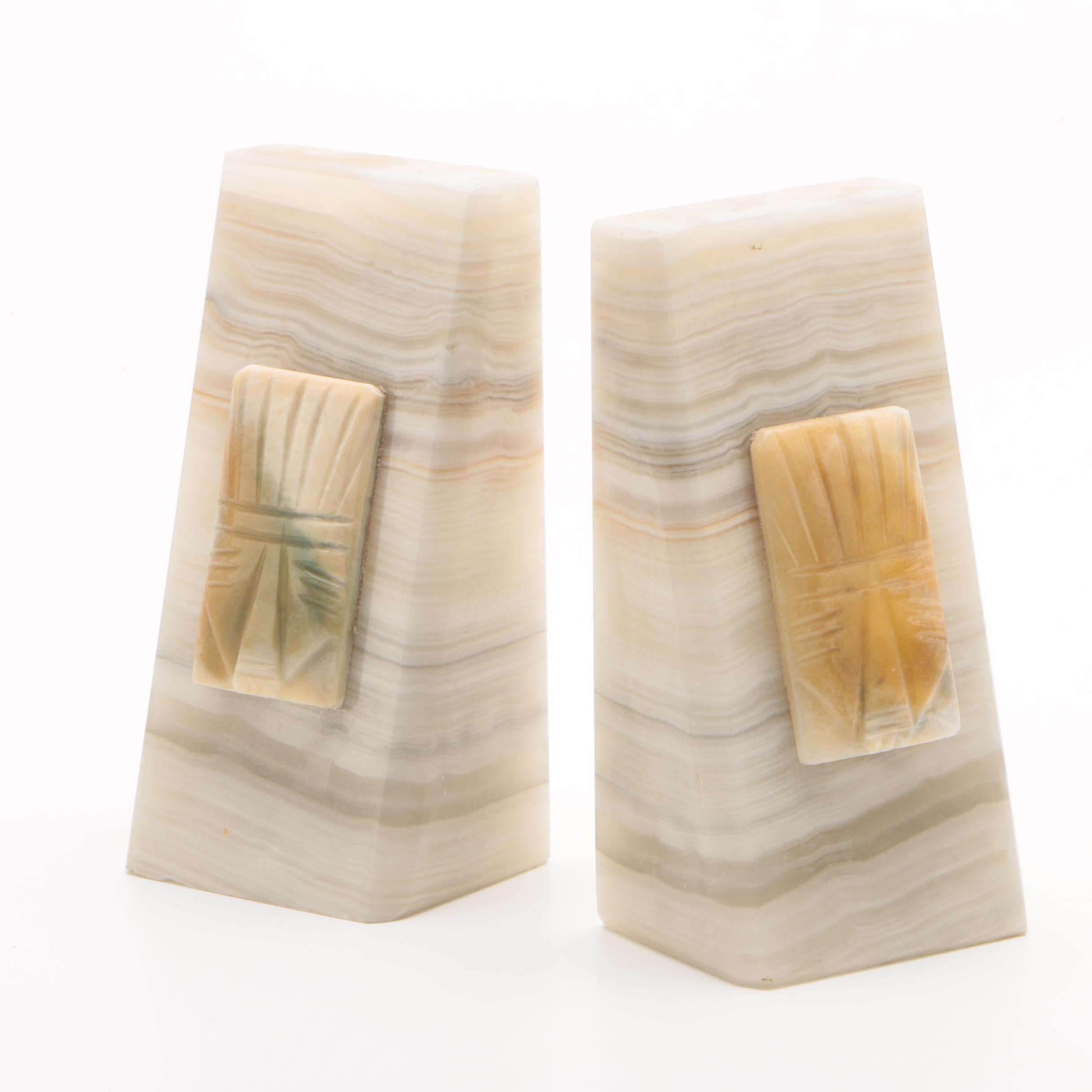 Vintage Mayan Revival Style Onyx Bookends
