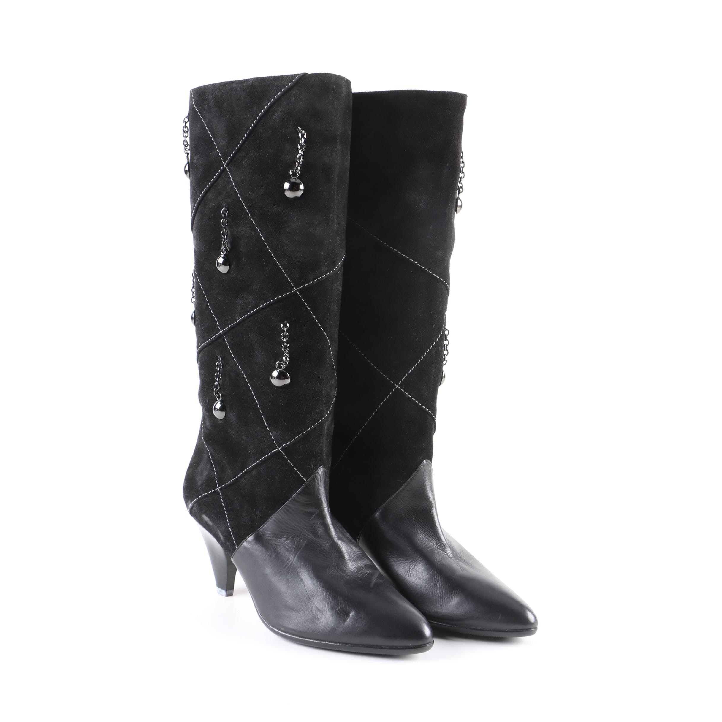 Women's Neiman Marcus Black Suede and Leather Rodo Boots