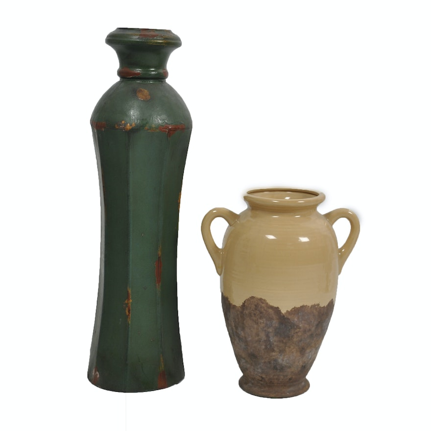 Contemporary Green And Yellow Ceramic Vases Ebth