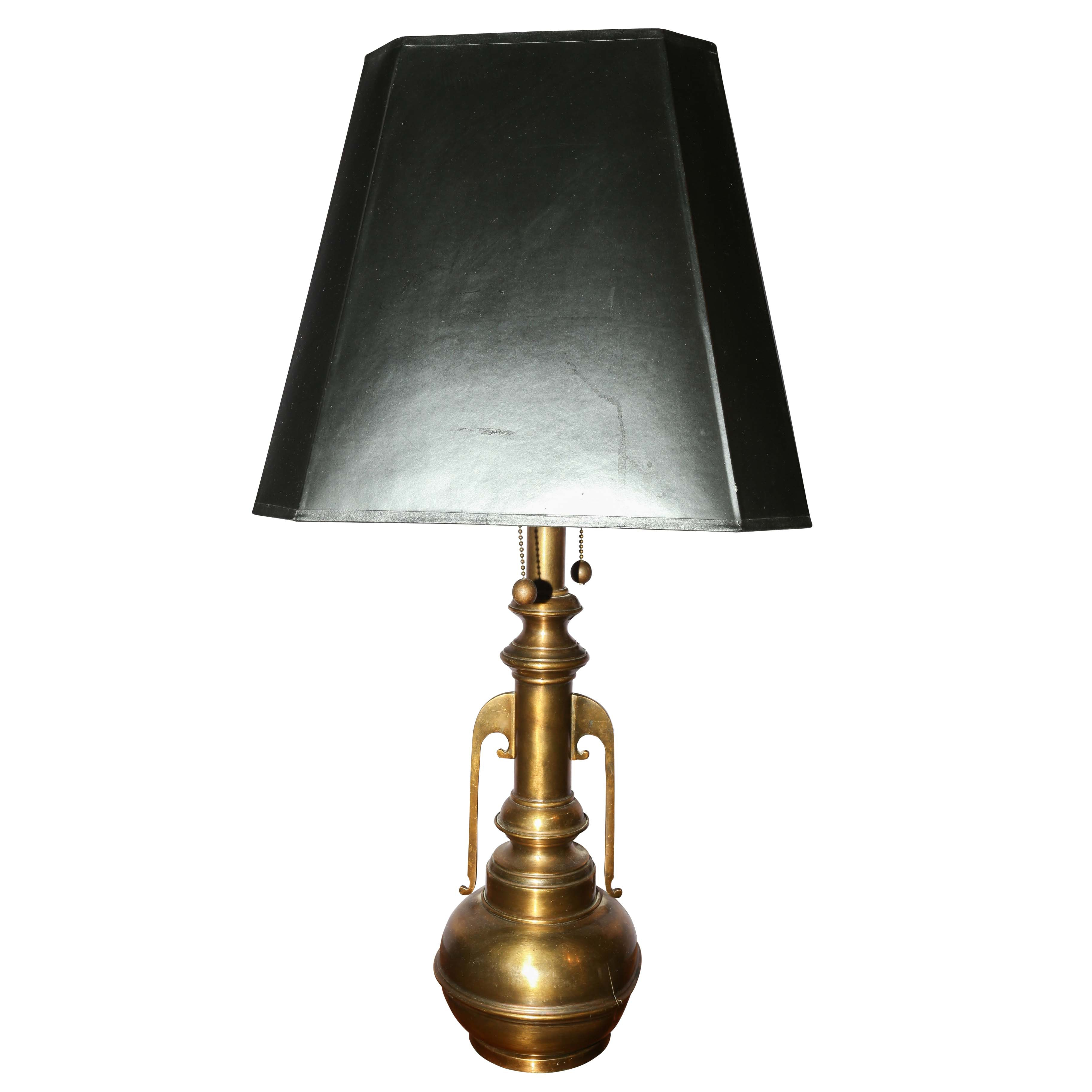 Brass Table Lamp With Black Shade Ebth