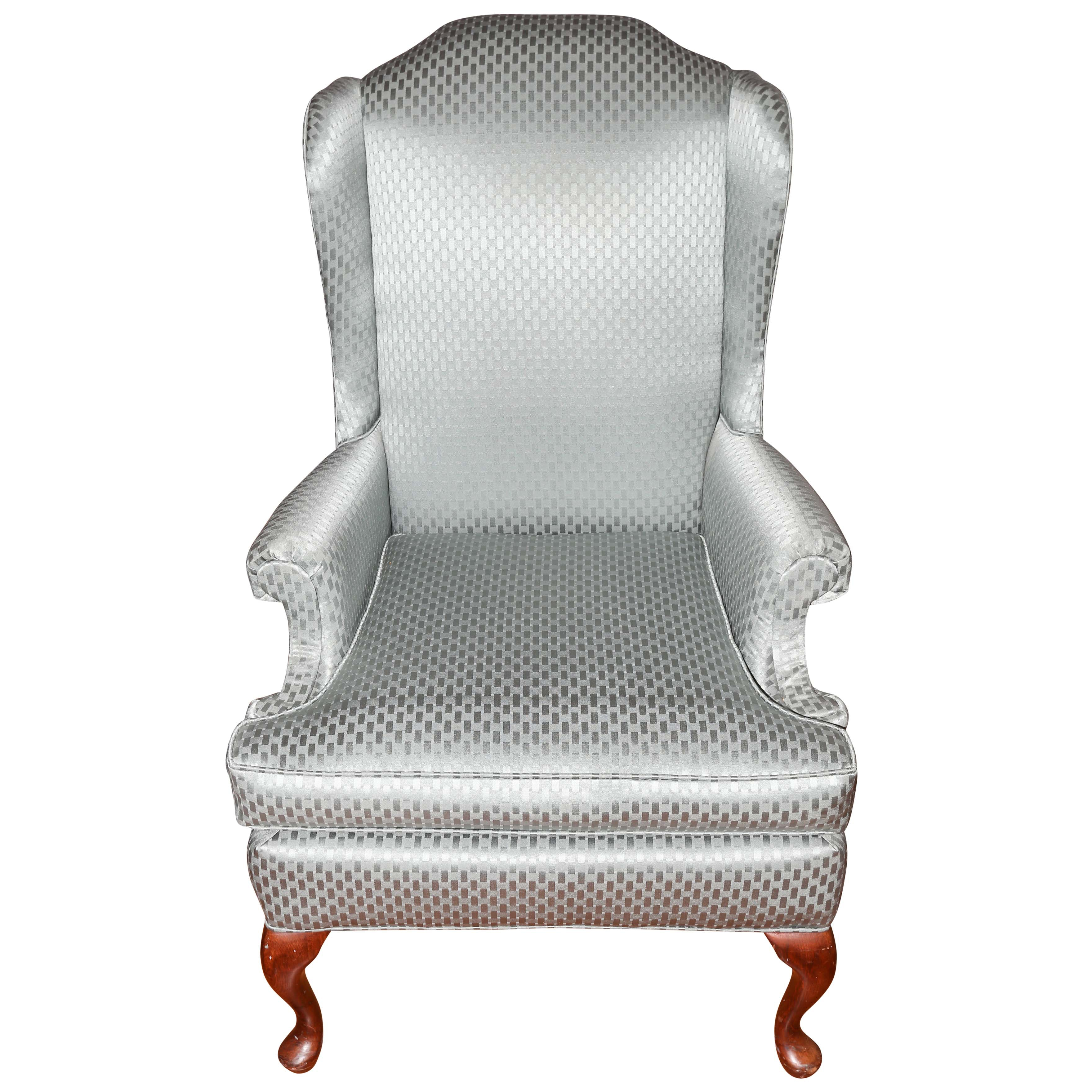 Contemporary Upholstered Queen Anne Style Wingback Chair