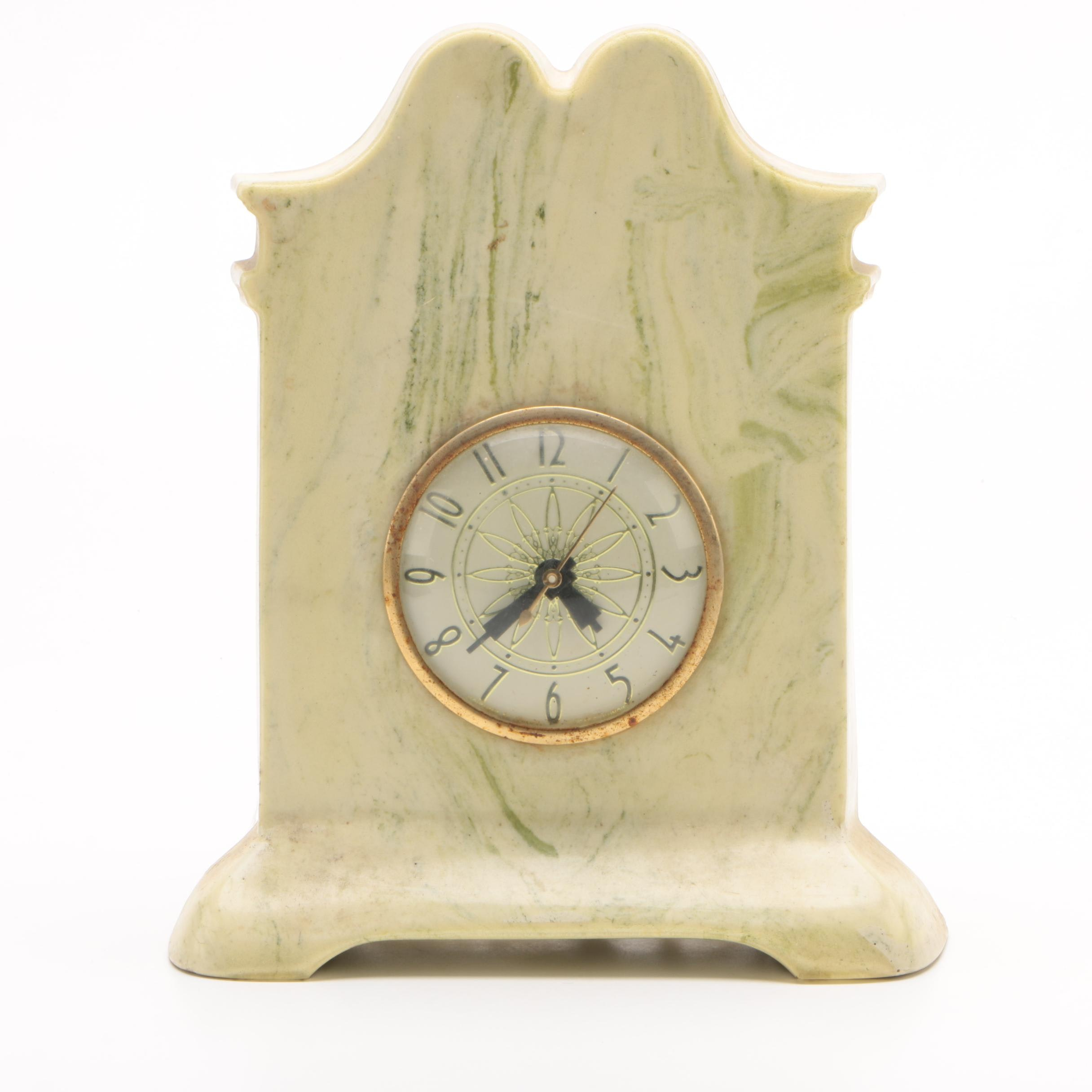 Vintage Wright Marble Company Marble Mantel Clock