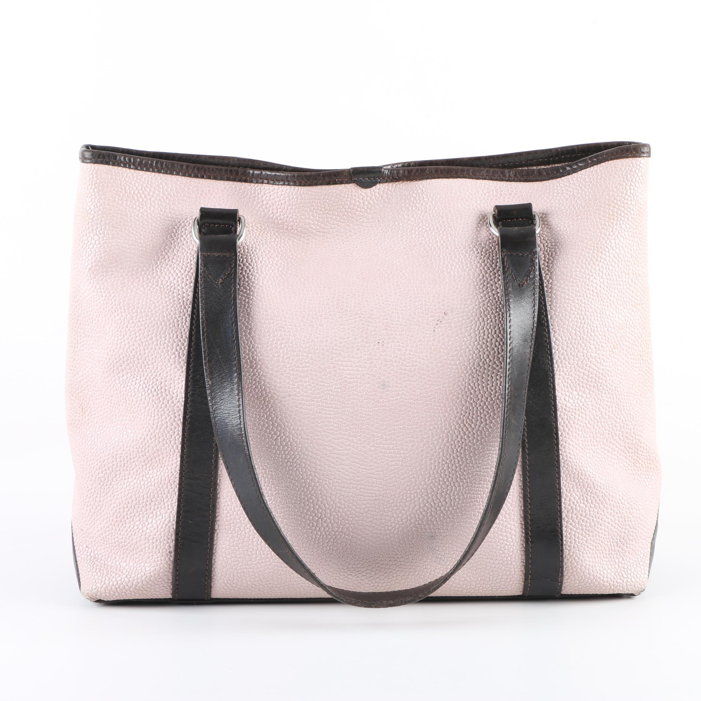 Mulberry Pink and Brown Pebbled Leather Shoulder Bag