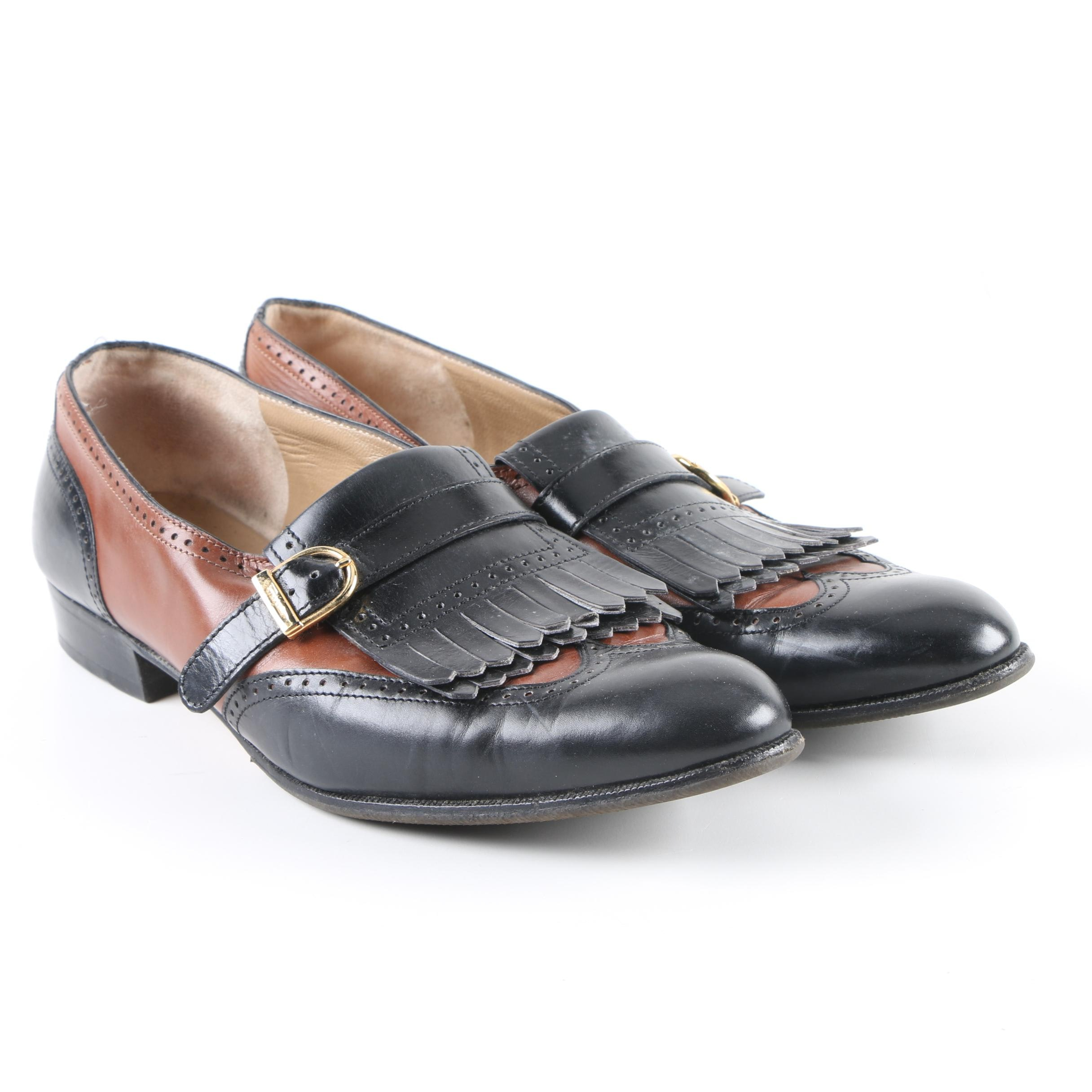 Women's Salvatore Ferragamo Black and Brown Leather Wingtip Loafers