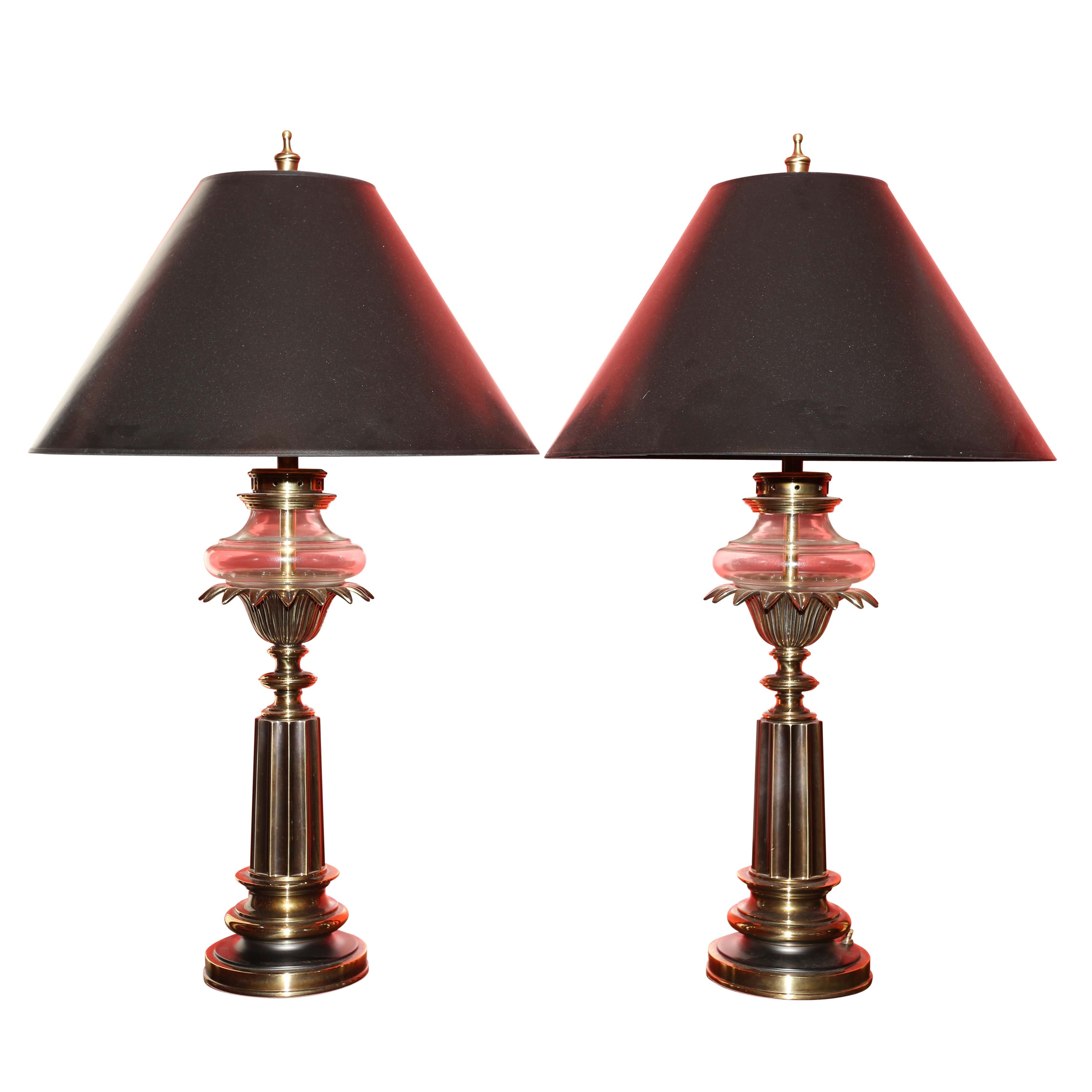 The Stiffel Company Brass and Glass Table Lamps