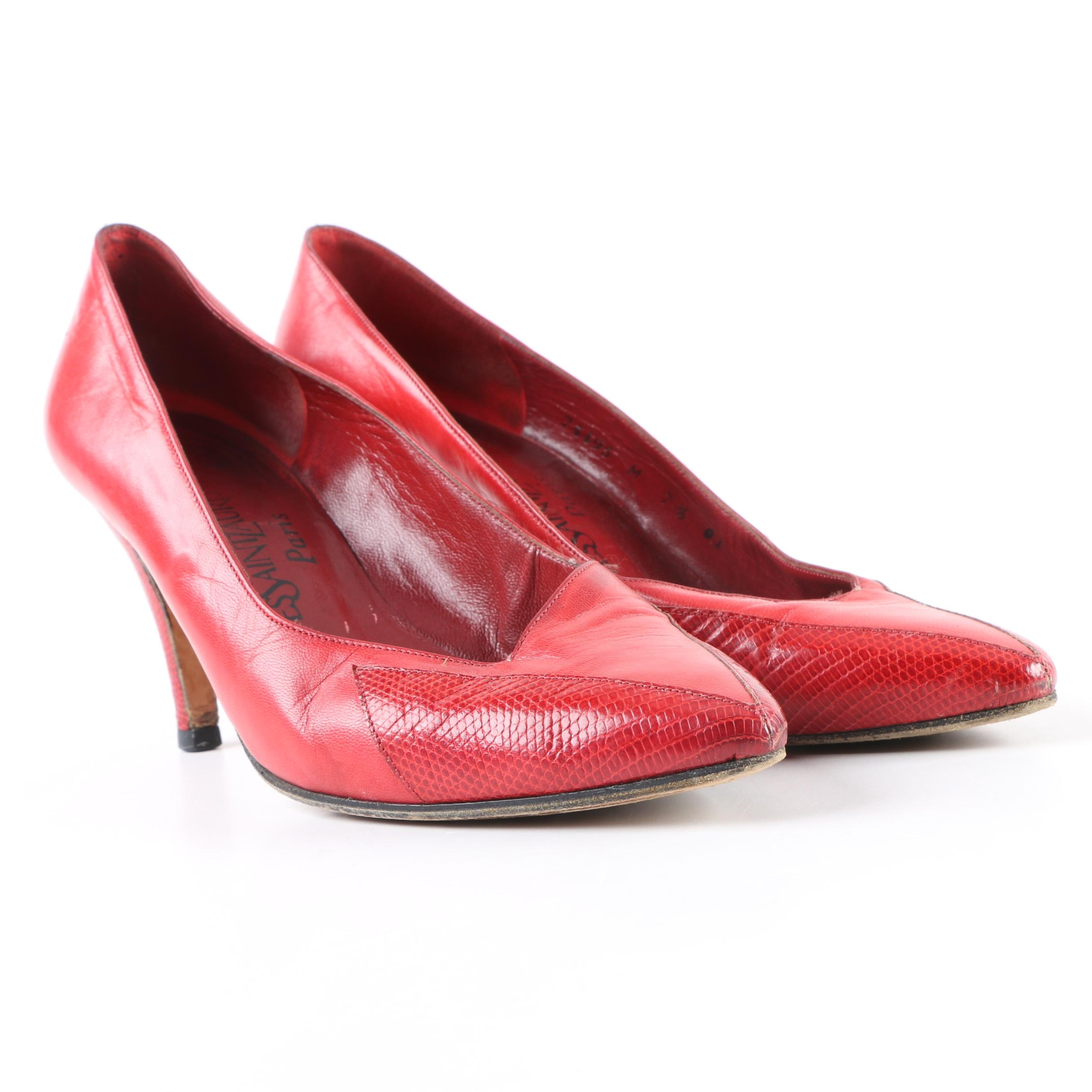 Women's Vintage Yves Saint Laurent Red Leather Pumps with Embossed Lizard Accent