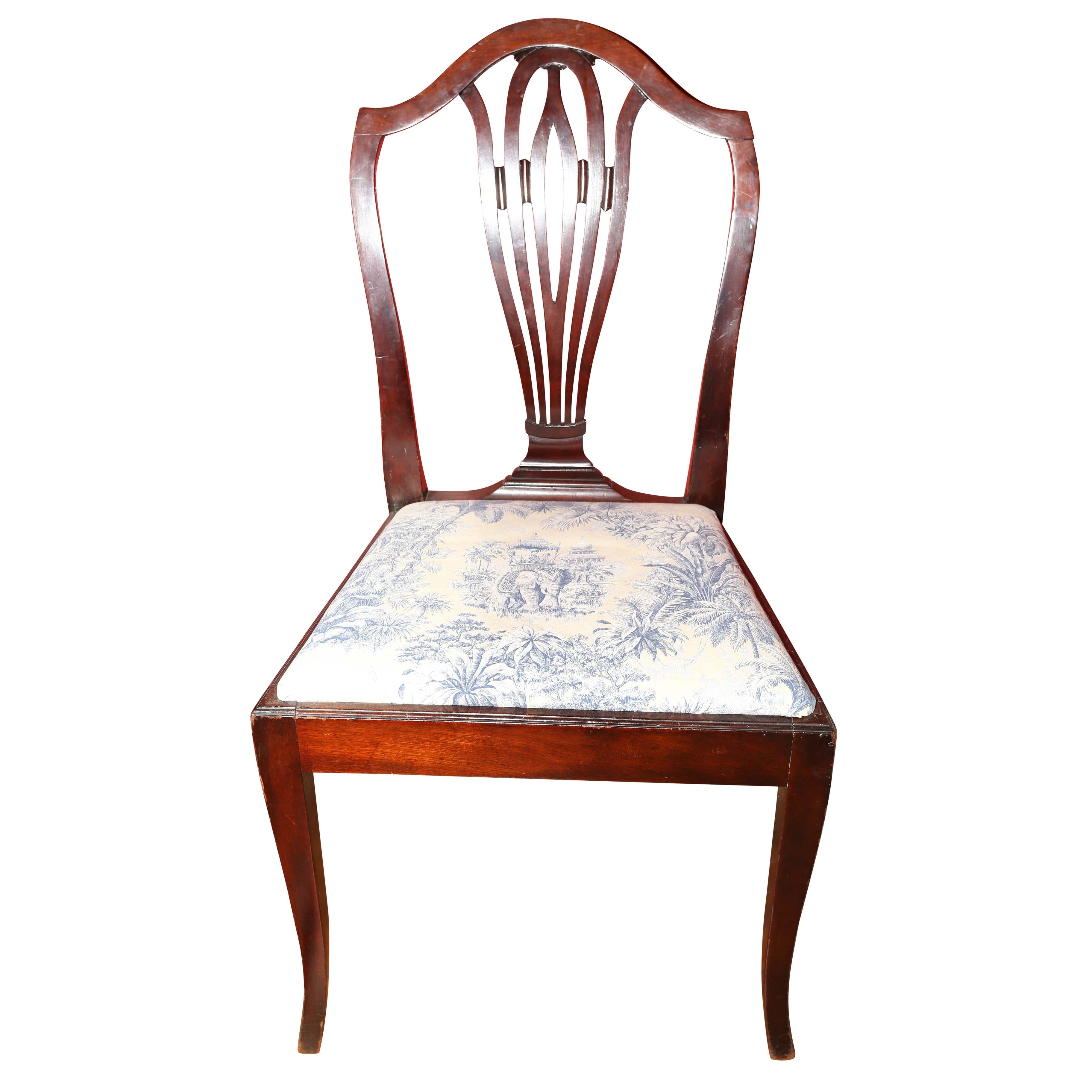 Vintage Sheraton-Style Side Chair with Toile Upholstered Seat