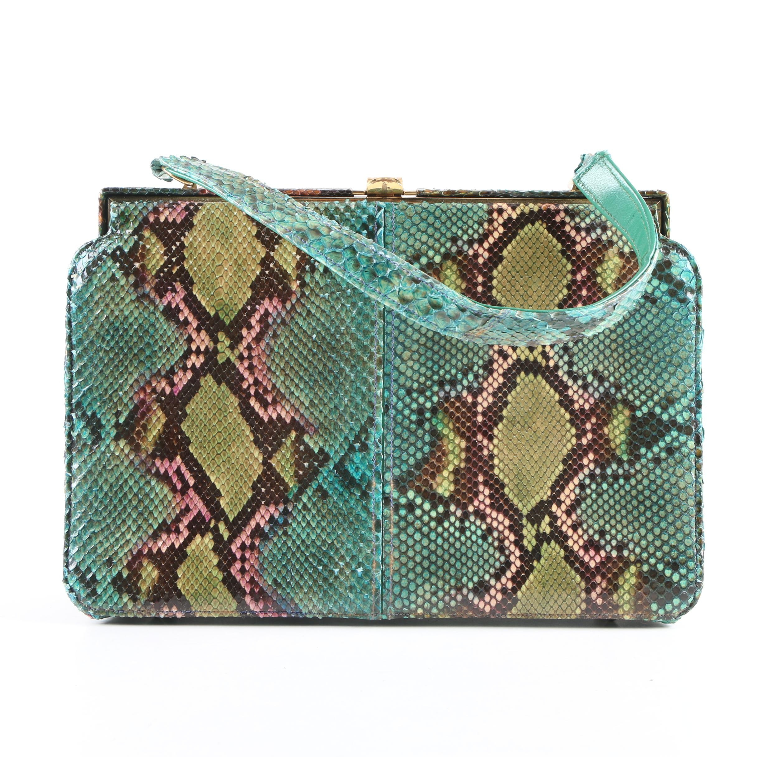 Vintage Sydney of California Multicolored Python Skin Handbag