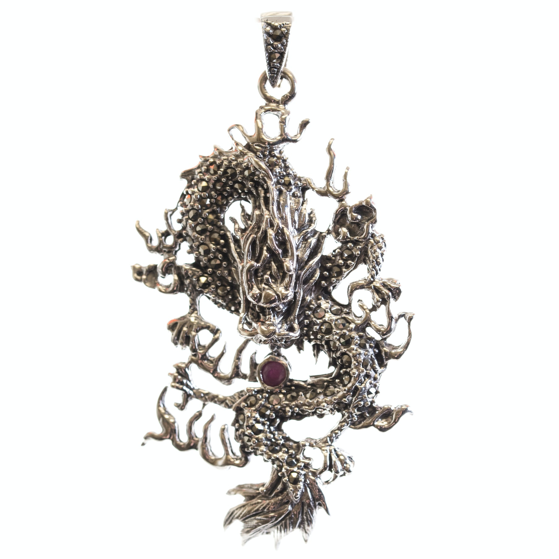 Sterling Silver Ruby and Marcasite Dragon Pendant