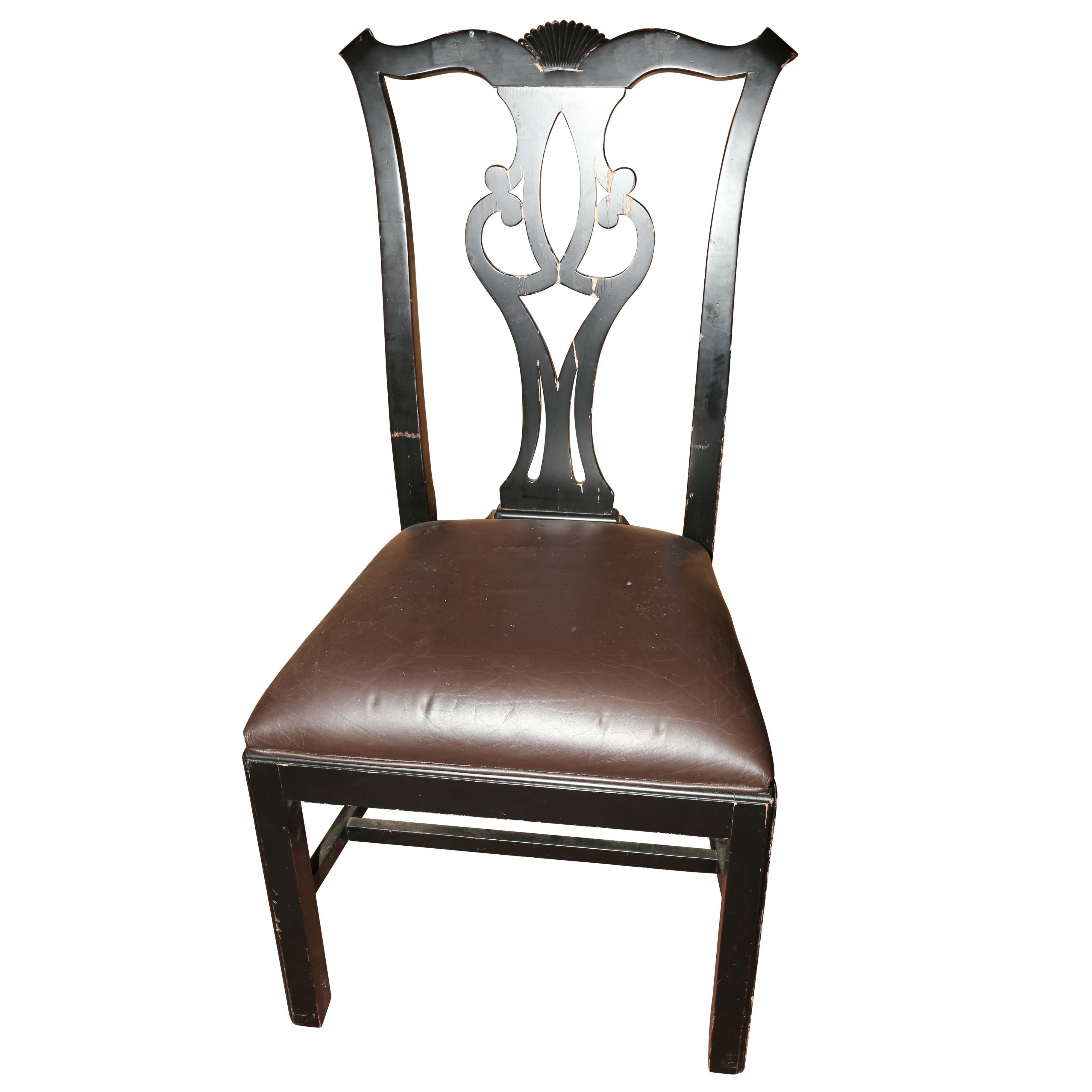 Chippendale Style Black Lacquered Side Chair
