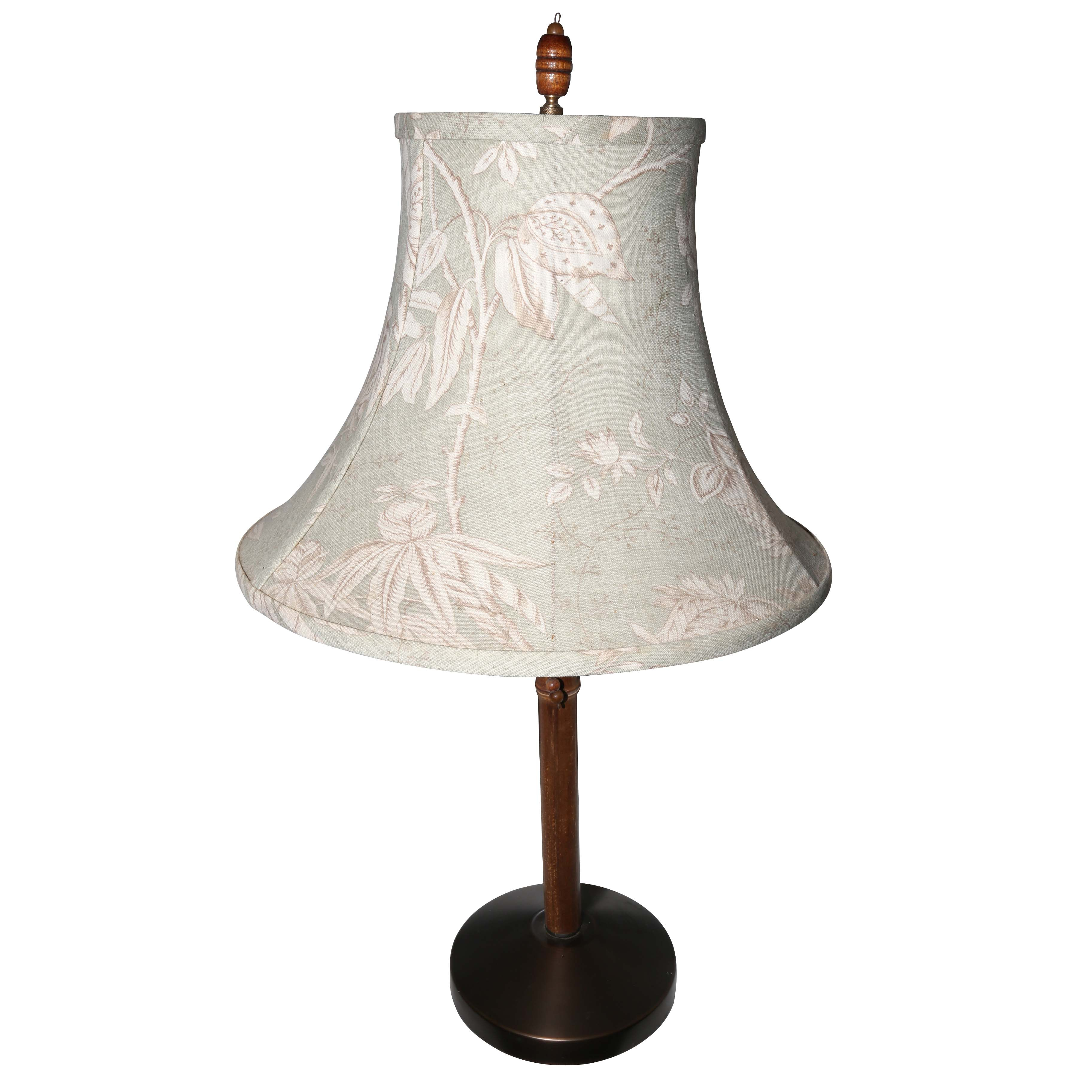Wood Table Lamp With Fabric Shade