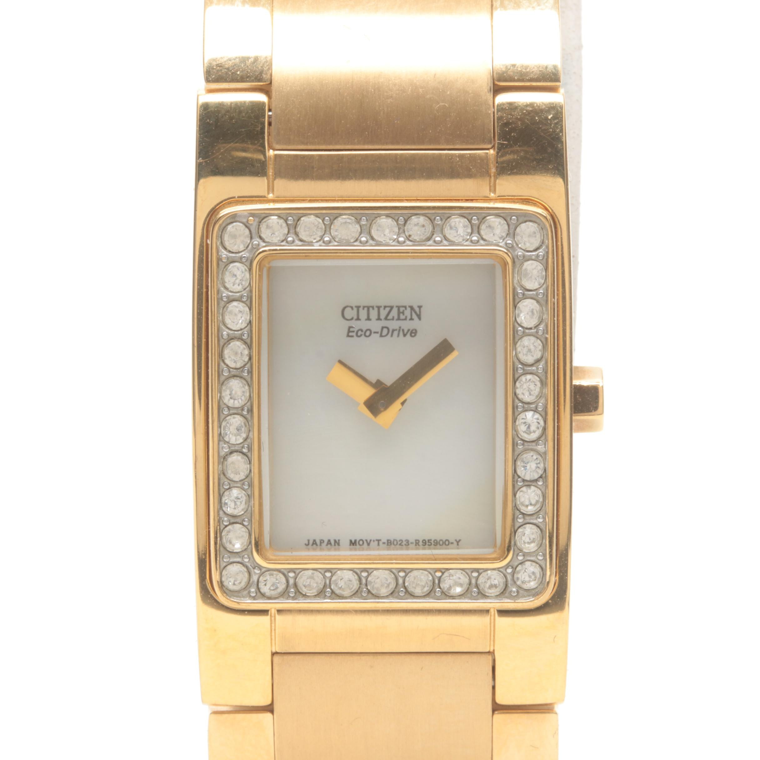 Citizen Eco Drive Stainless Steel, Mother of Pearl and Glass Crystal Wristwatch