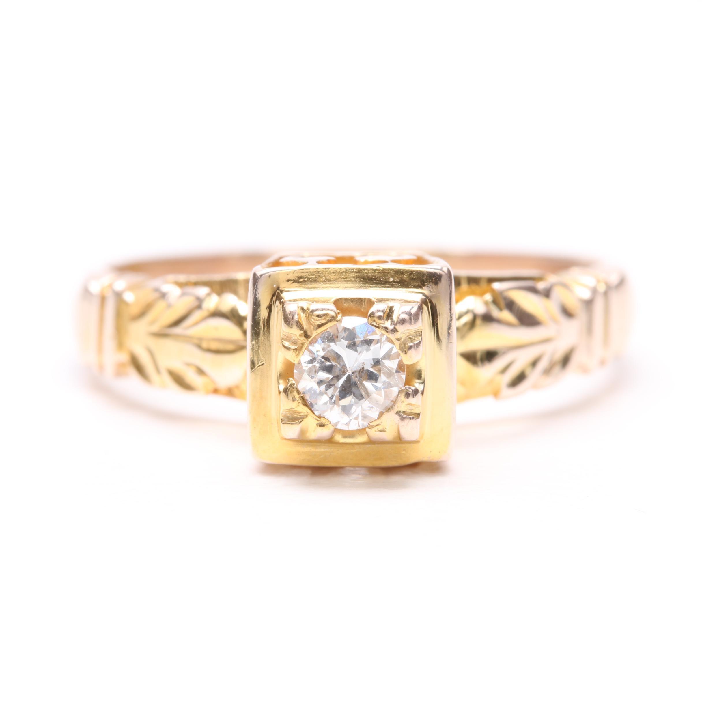 Vintage 10K Rose Gold Diamond Ring