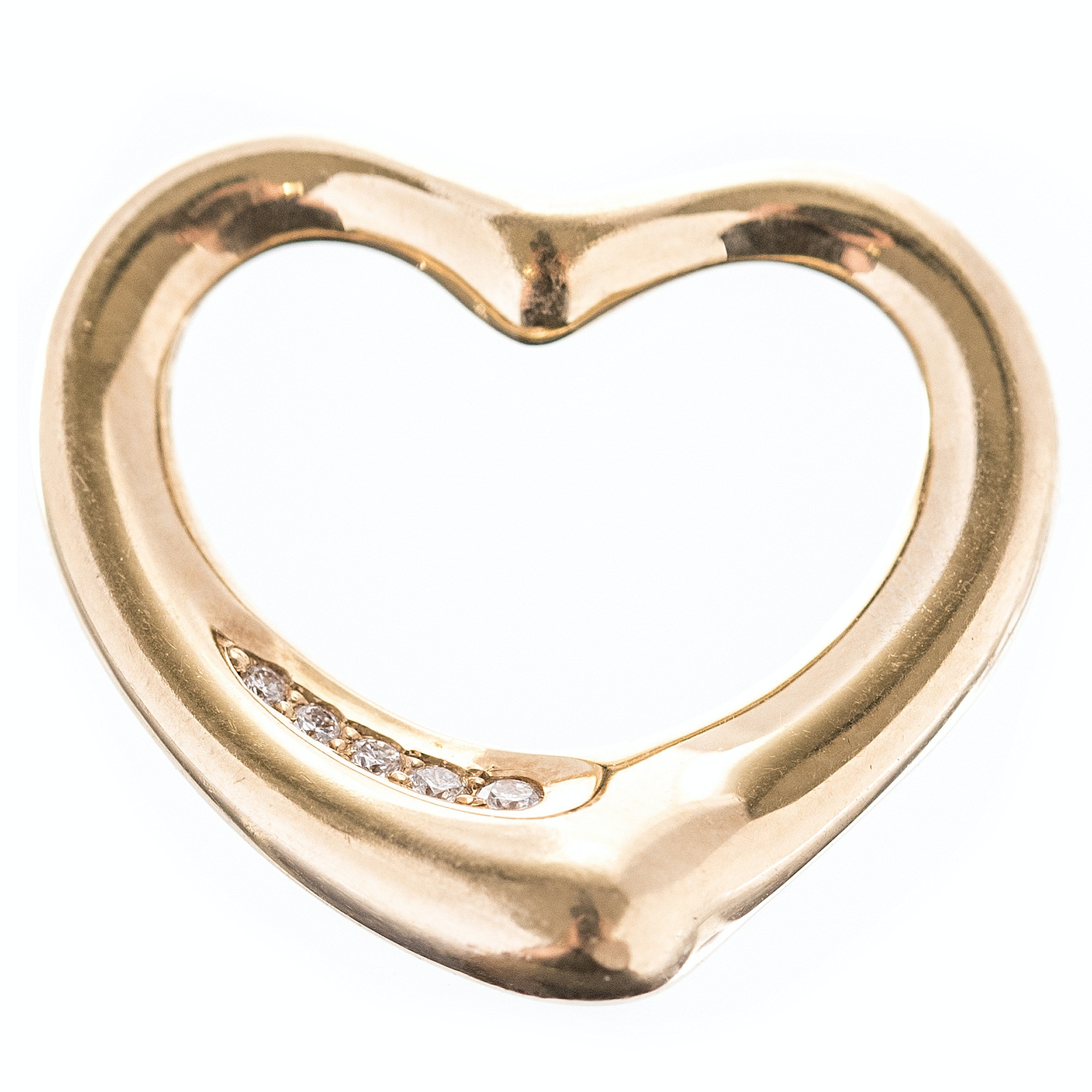 Elsa Peretti for Tiffany & Co. 18K Yellow Gold Diamond Heart Pendant