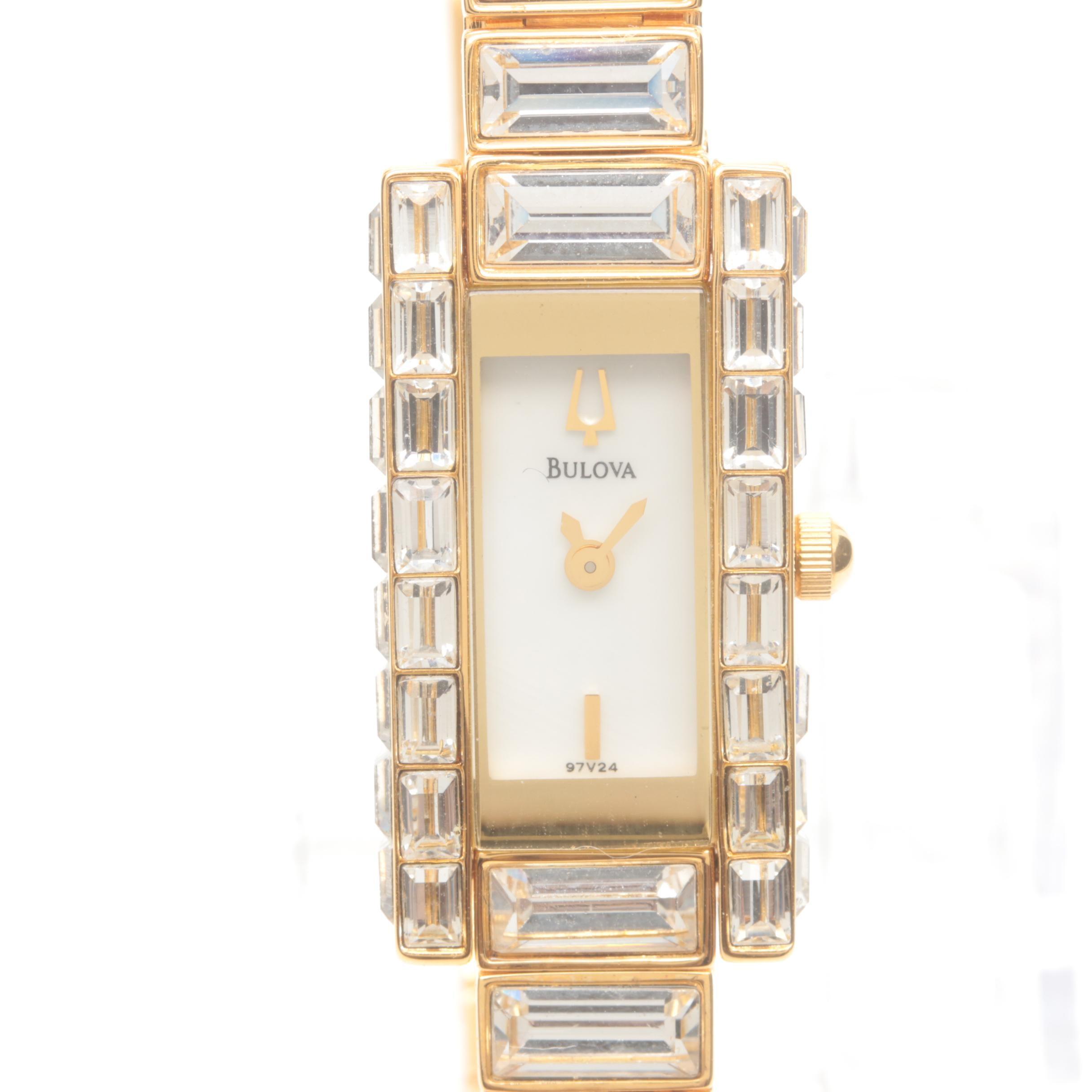 Bulova Stainless Steel Glass Crystal Wristwatch