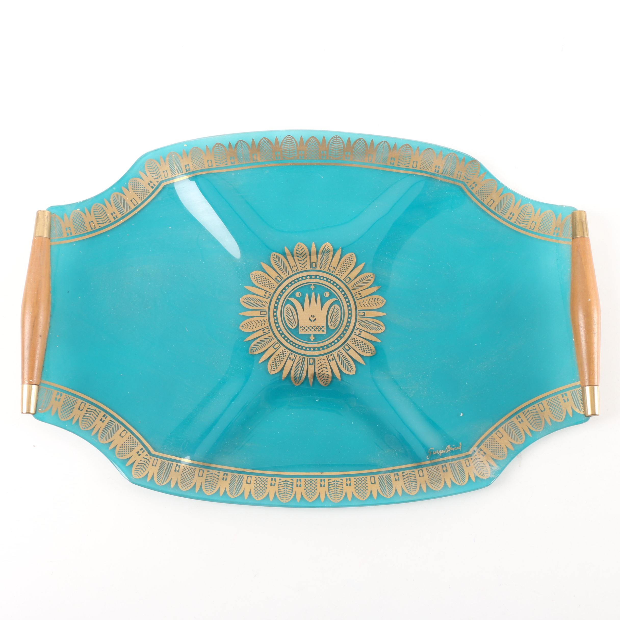 Mid Century Modern Georges Briard Teal Glass Serving Tray