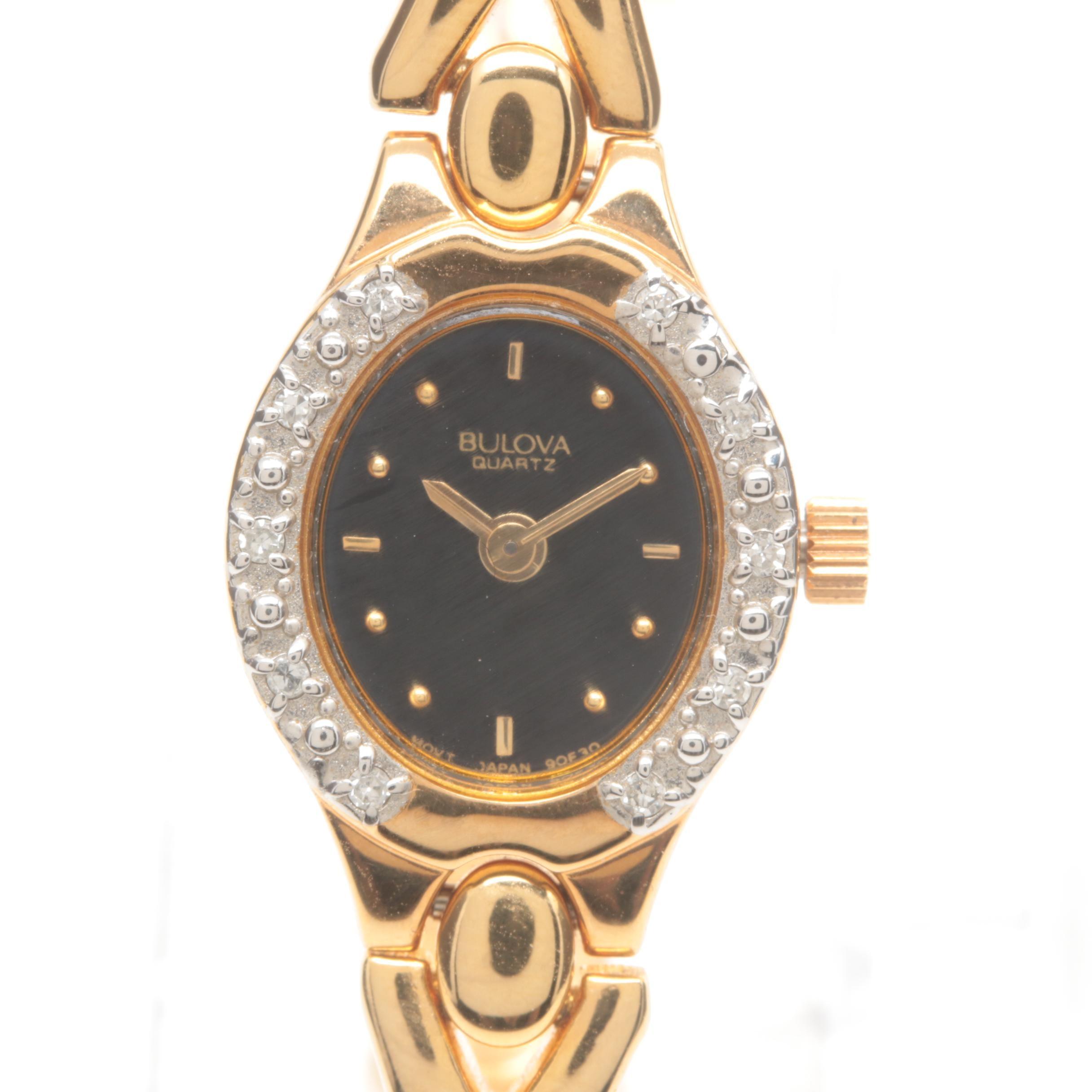 Bulova Stainless Steel Diamond Wristwatch