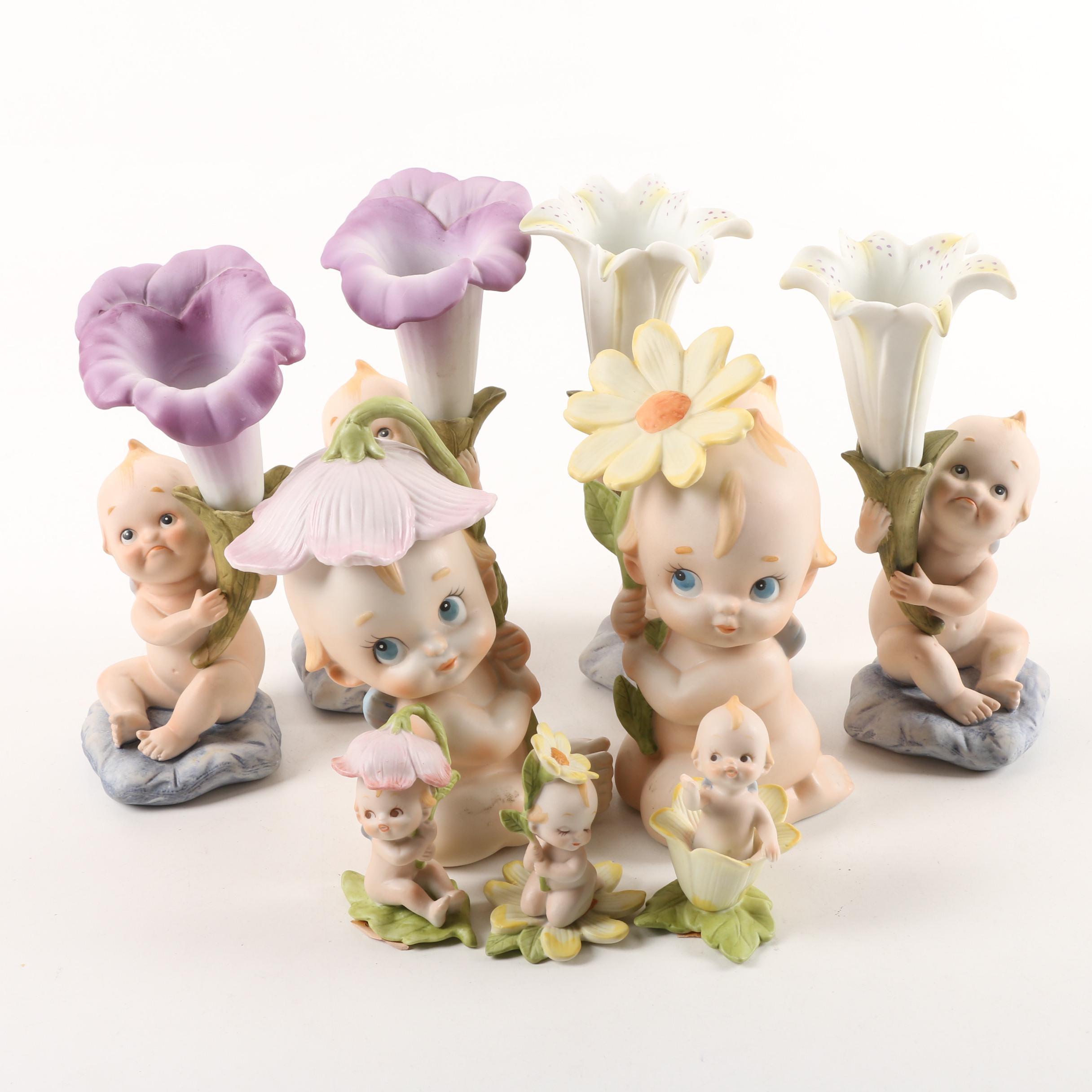 Vintage Lefton China Kewpie Bud Vases and Figurines