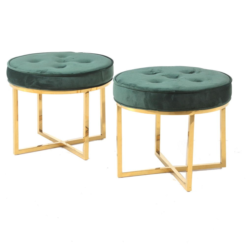 Pair of Emerald Green Velour and Brass Ottomans