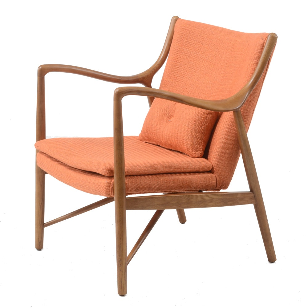Danish Modern Style Elm Armchair with Pillow