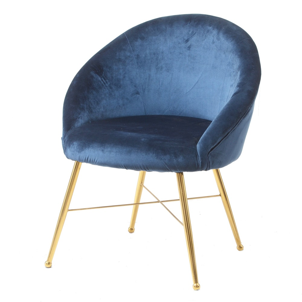 Round Blue Velour Lounge Chair