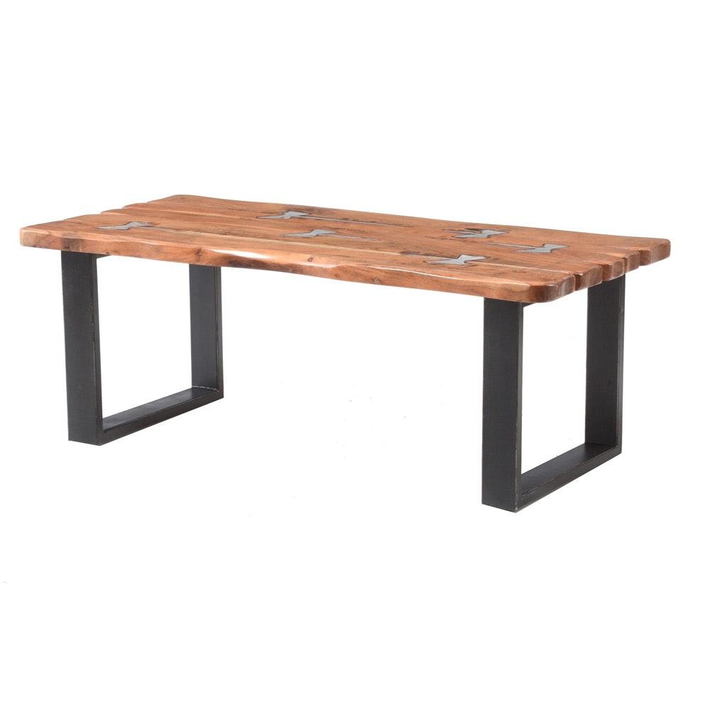 Exotic Wood and Metal Inlay Coffee Table