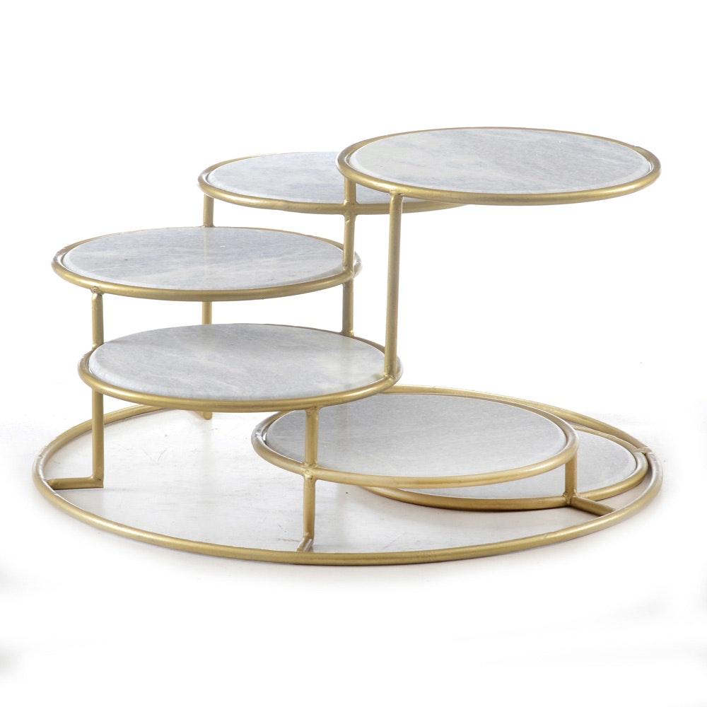 Tiered White Quartz Coffee Table
