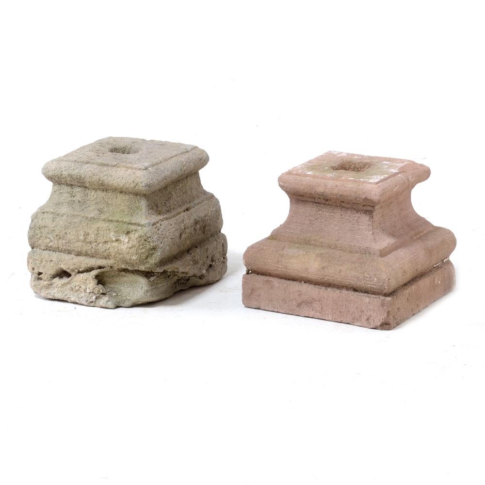Pair of Decorative Concrete Pillar Bases