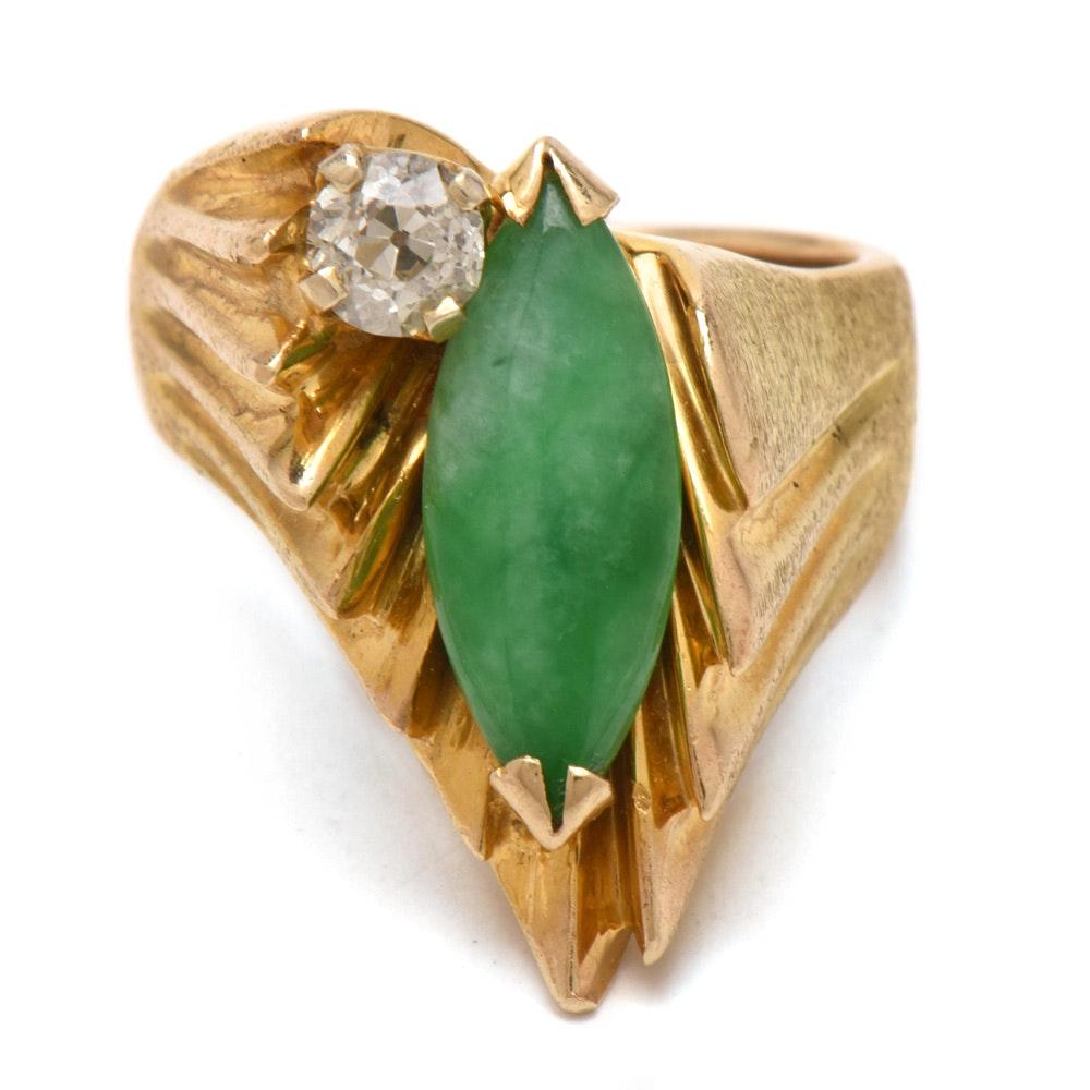 Vintage 14K Yellow Gold Jadeite and Diamond Ring