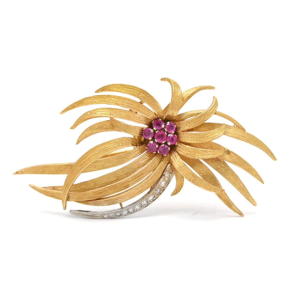 Circa 1950s 18K Yellow Gold Ruby and Diamond Feathered Brooch