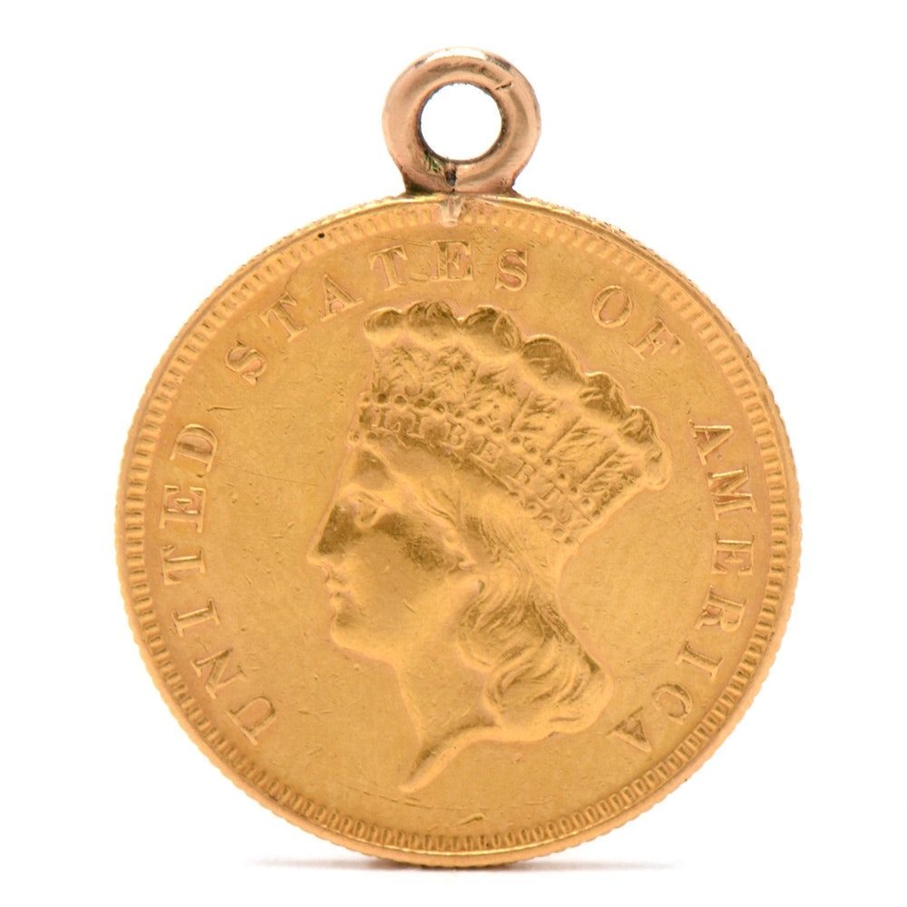 1874 Indian Princess Head $3 Gold Coin in 14K Yellow Gold Bezel