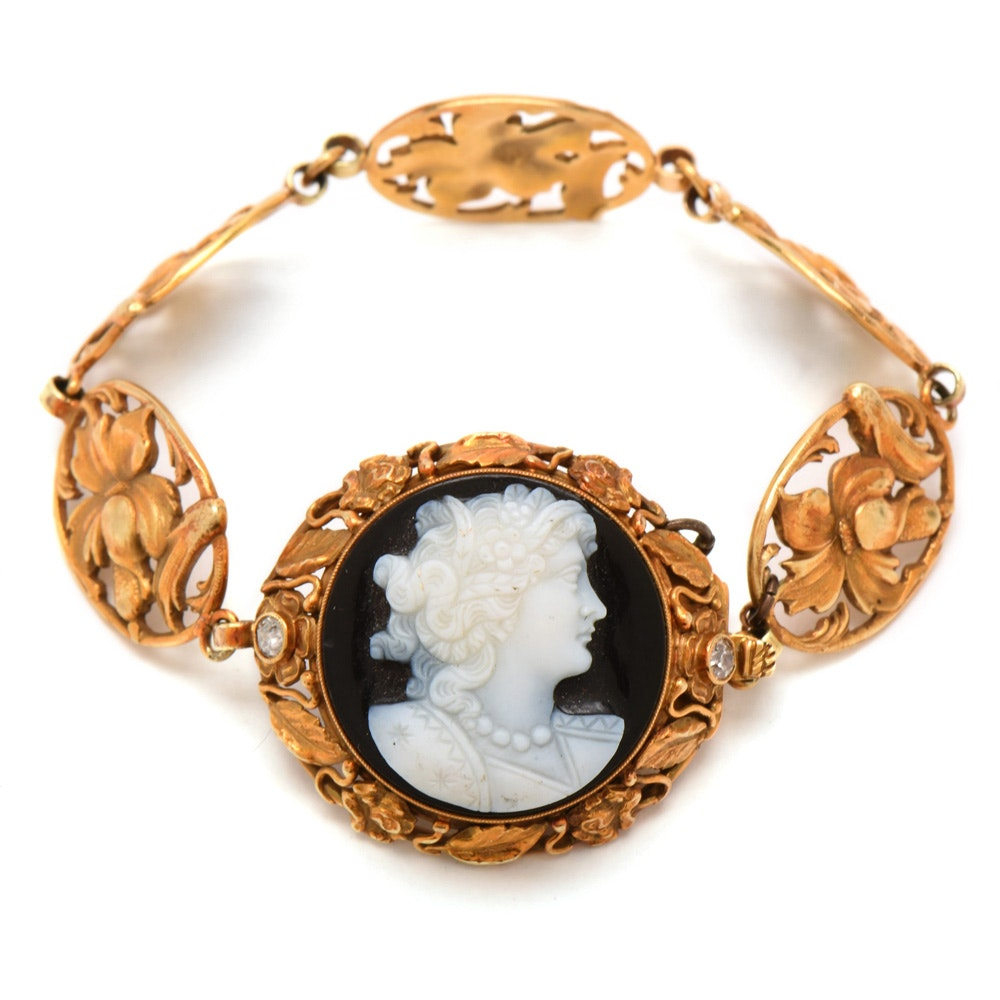 Art Nouveau 14K Yellow Gold Carved Onyx Cameo and Diamond Floral Bracelet