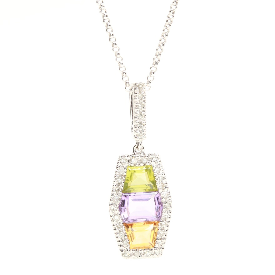 14k white gold amethyst peridot citrine and diamond pendant 14k white gold amethyst peridot citrine and diamond pendant necklace aloadofball Gallery