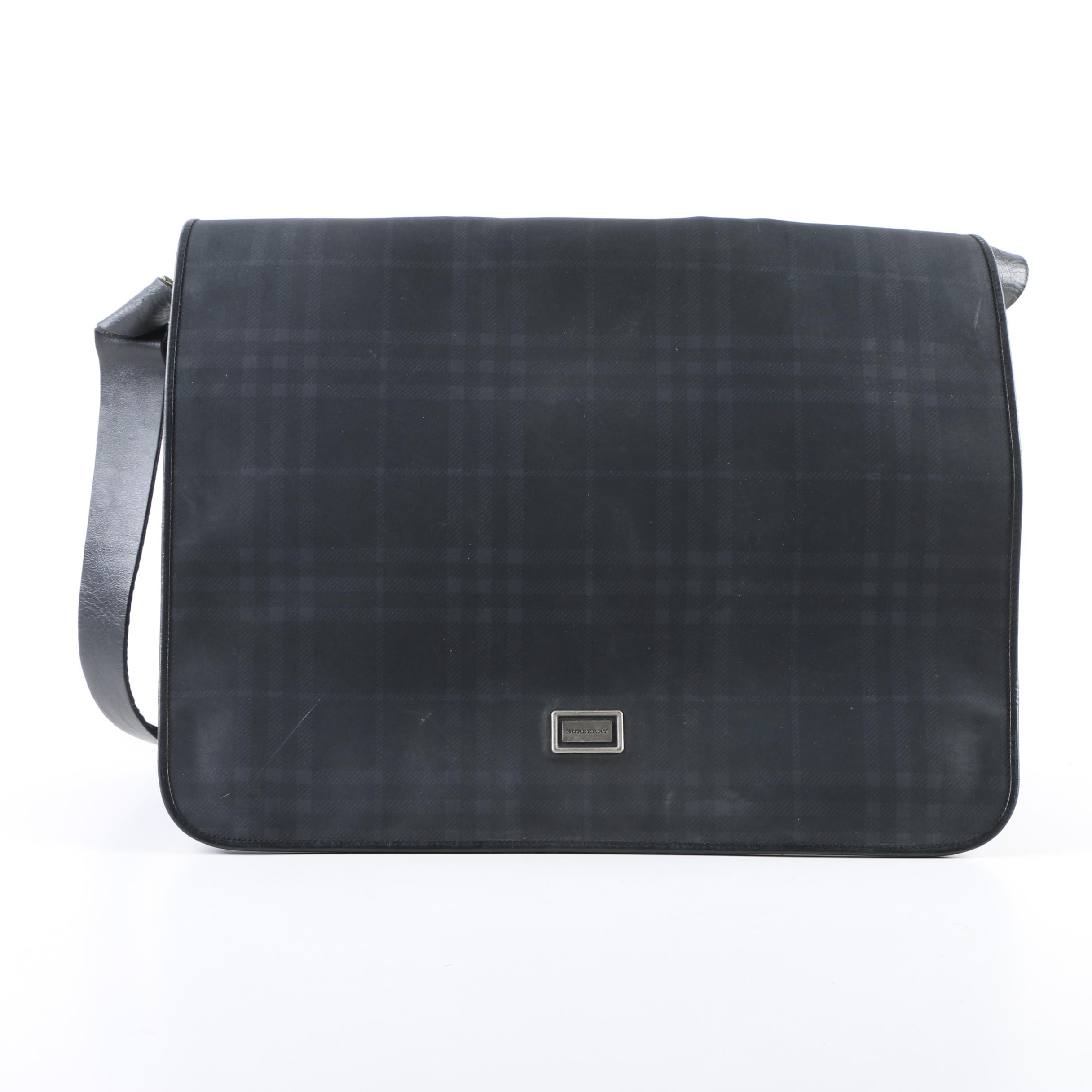 Burberry London Plaid Messenger Bag in Midnight Blue