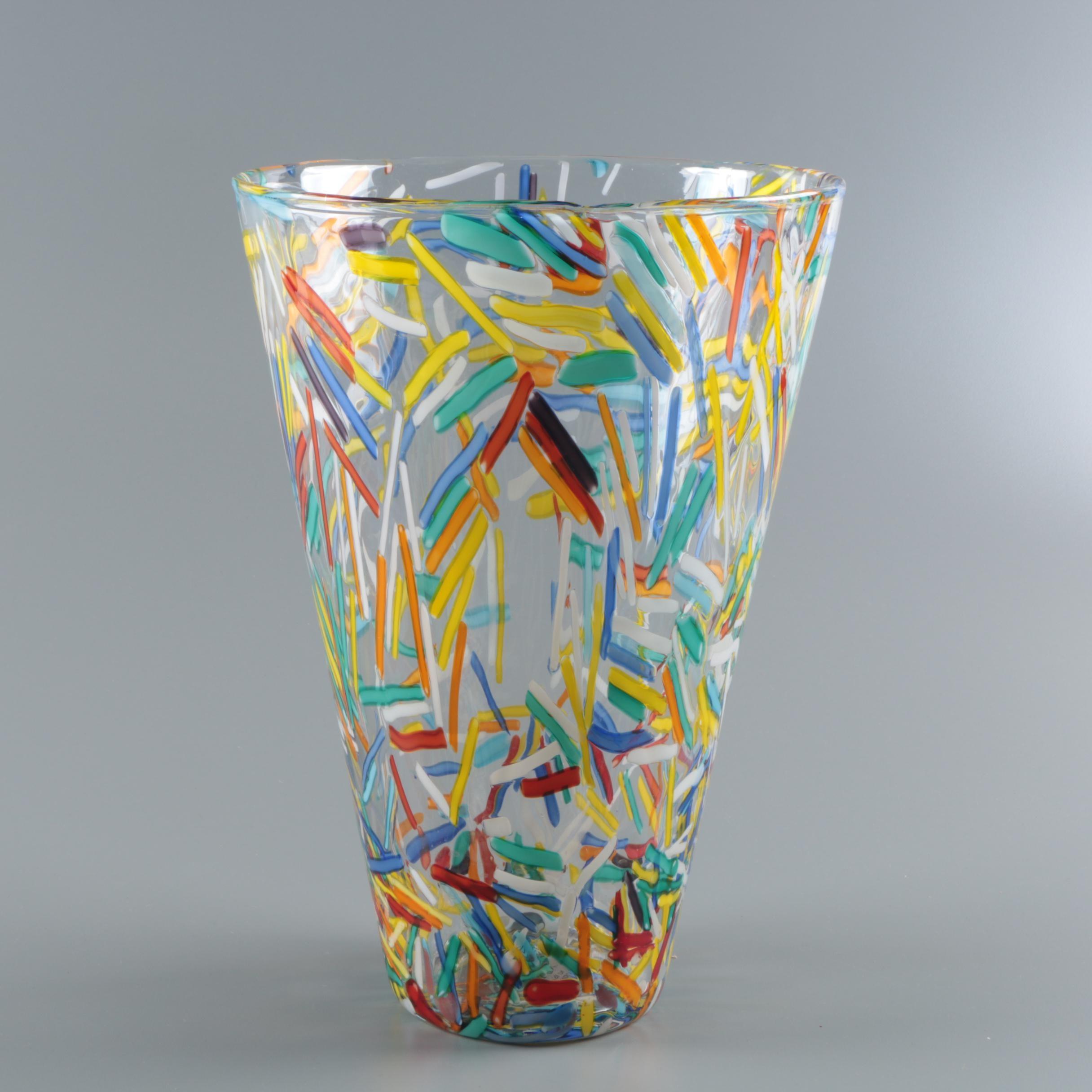 Italian Art Glass Flower Vase in the Murano Style