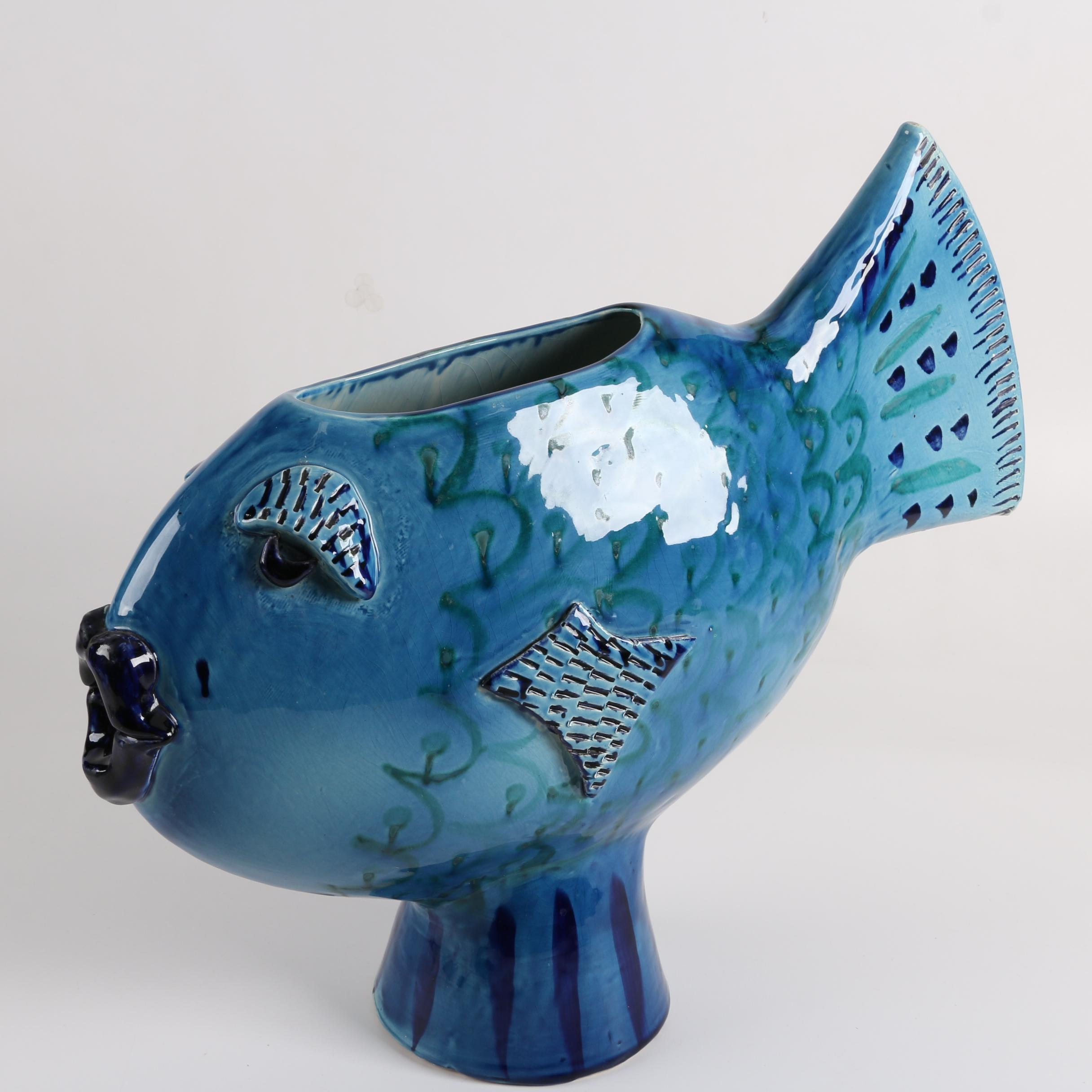 Vallaurais Pottery Fish Vase by K.W Elliot