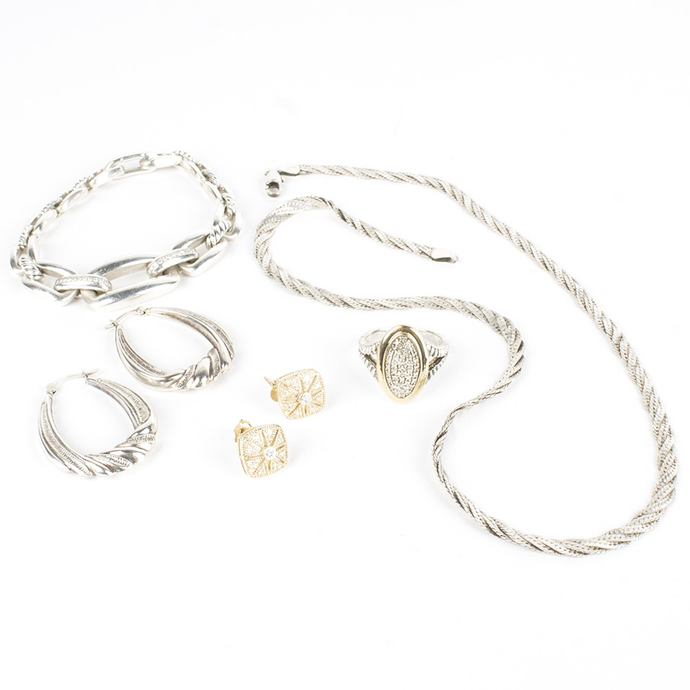 Sterling Silver Jewelry Collection Featuring Diamonds including David Yurman