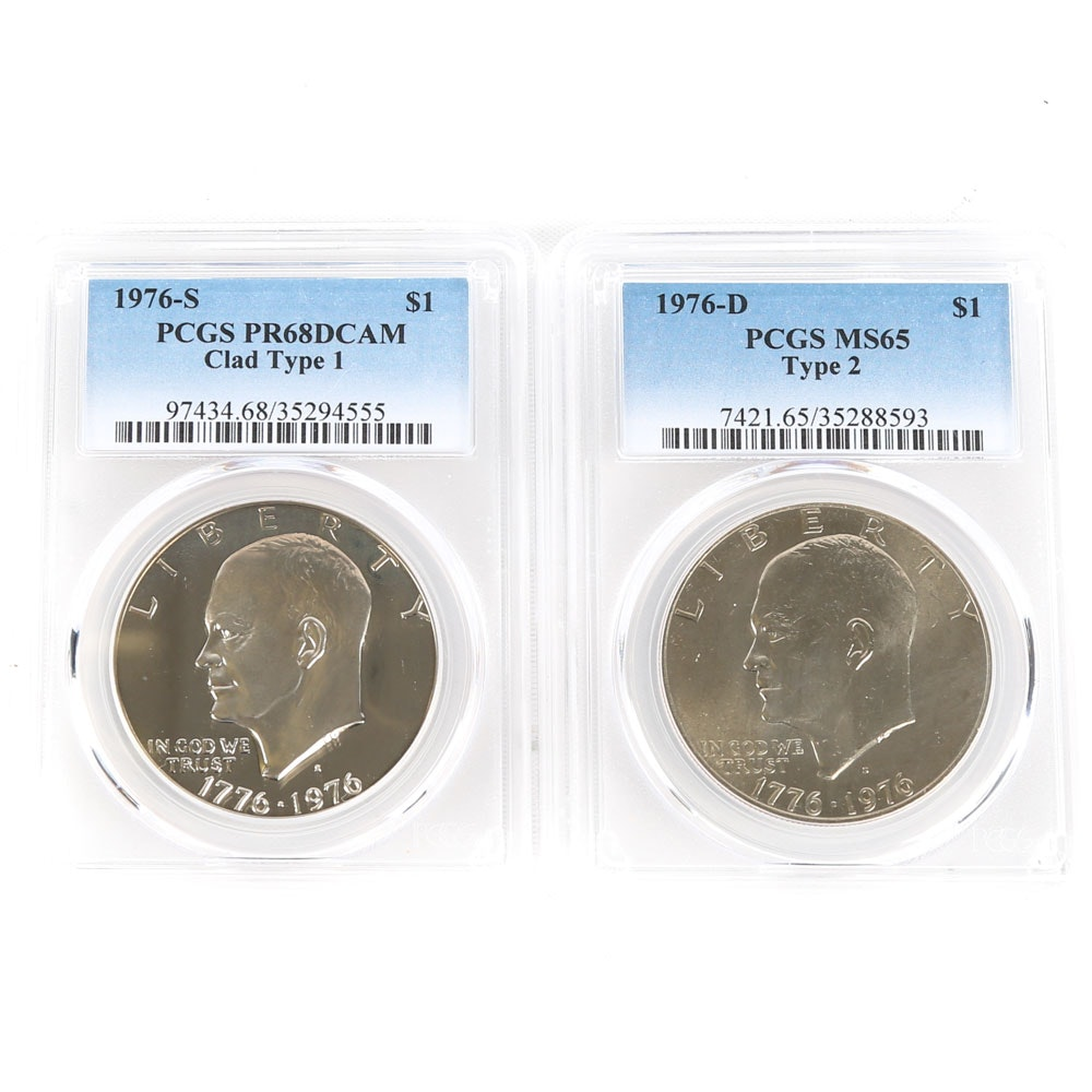 PCGS Graded 1976-D and 1976-S Eisenhower Dollars